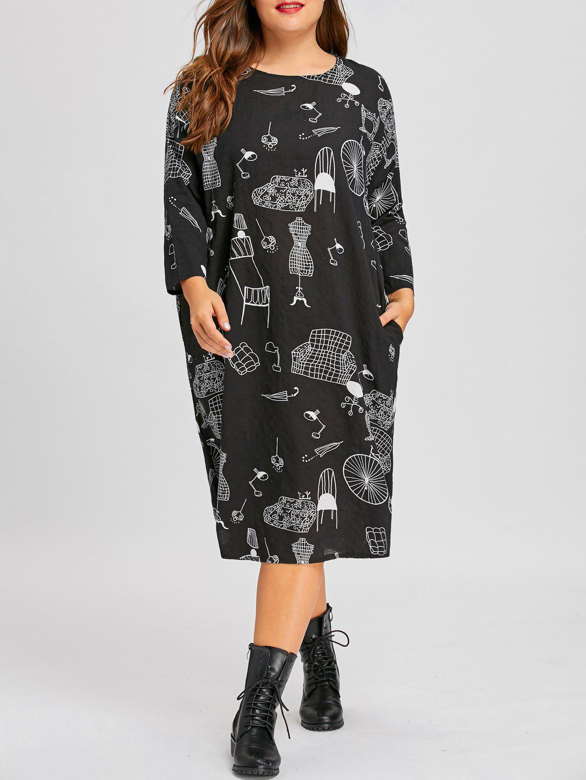 Plus Size Graphic Loose Midi Tunic DressWOMEN<br><br>Size: ONE SIZE; Color: BLACK; Style: Casual; Material: Polyester; Silhouette: A-Line; Dresses Length: Mid-Calf; Neckline: Scoop Neck; Sleeve Length: Long Sleeves; Embellishment: Pockets; Pattern Type: Graphic,Print; With Belt: No; Season: Fall,Winter; Weight: 0.2600kg; Package Contents: 1 x Dress;