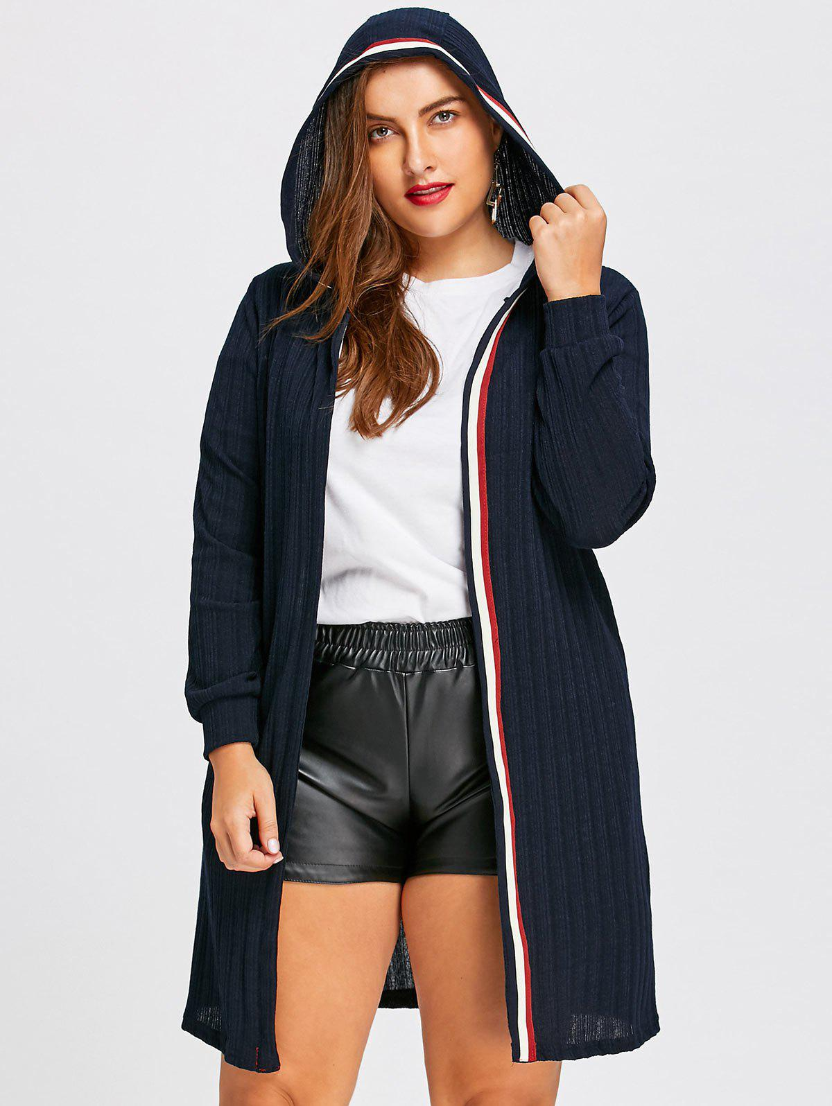 Ribbed Longline  Plus Size Hooded CardiganWOMEN<br><br>Size: 5XL; Color: PURPLISH BLUE; Type: Cardigans; Material: Polyester; Sleeve Length: Full; Collar: Hooded; Style: Fashion; Season: Fall,Winter; Pattern Type: Solid; Weight: 0.4700kg; Package Contents: 1 x Cardigan;