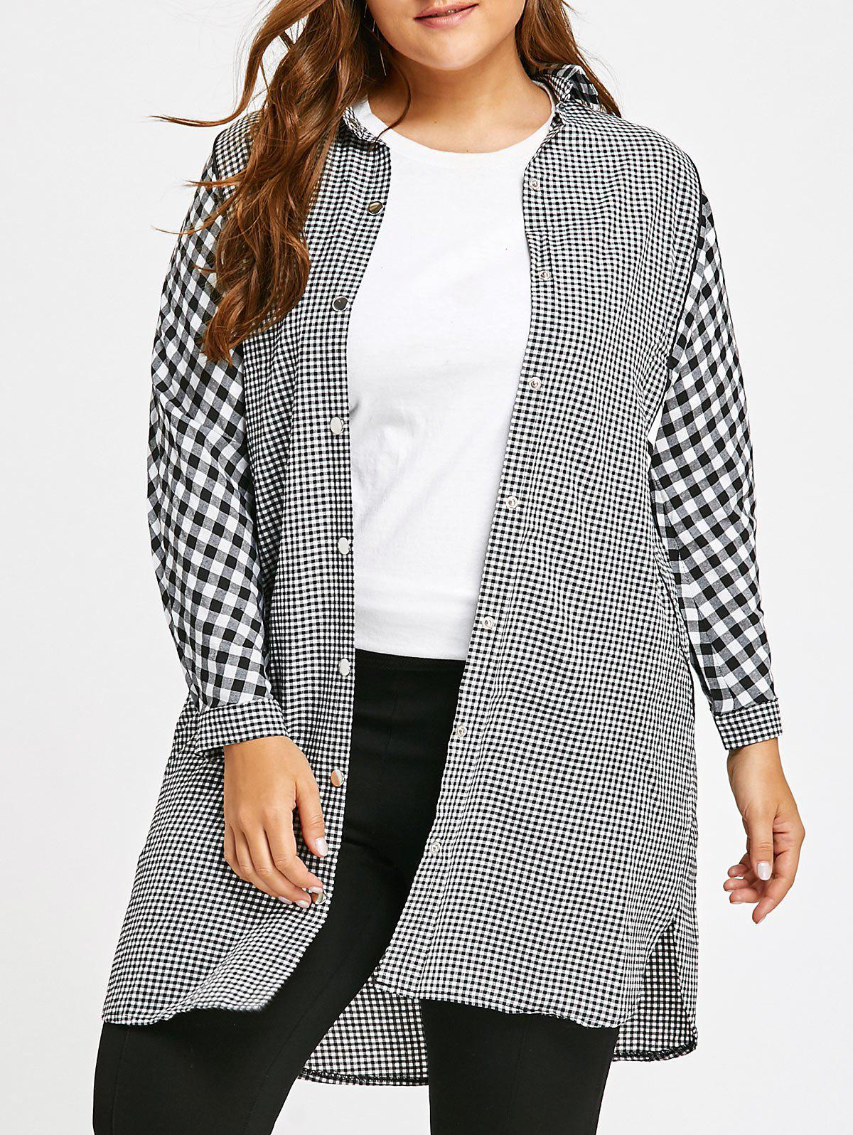 Long Plus Size Plaid Tunic ShirtWOMEN<br><br>Size: 5XL; Color: GRAY; Material: Cotton Blends,Polyester; Shirt Length: Long; Sleeve Length: Full; Collar: Shirt Collar; Style: Fashion; Season: Fall,Winter; Sleeve Type: Batwing Sleeve; Embellishment: Button; Pattern Type: Plaid; Weight: 0.3300kg; Package Contents: 1 x Shirt;