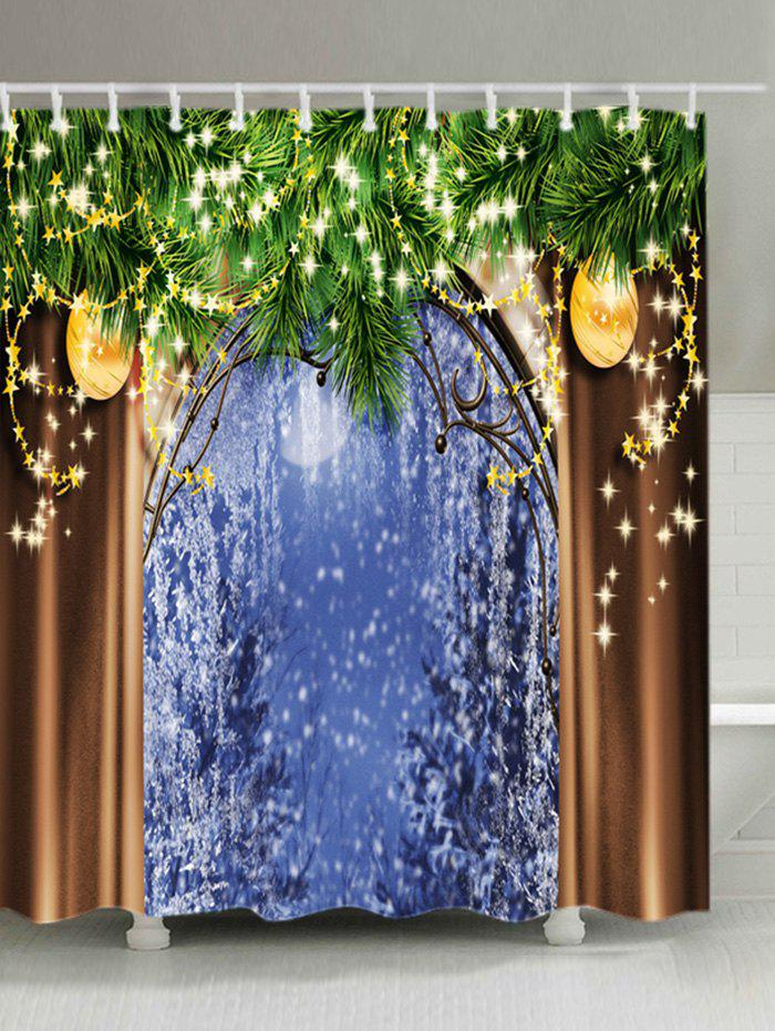 Christmas Tree Window Print Waterproof Bathroom Shower CurtainHOME<br><br>Size: W71 INCH * L79 INCH; Color: COLORMIX; Products Type: Shower Curtains; Materials: Polyester; Pattern: Ball,Plant; Style: Festival; Number of Hook Holes: W59 inch*L71 inch: 10; W71 inch*L71 inch: 12; W71 inch*L79 inch: 12; Package Contents: 1 x Shower Curtain 1 x Hooks (Set);