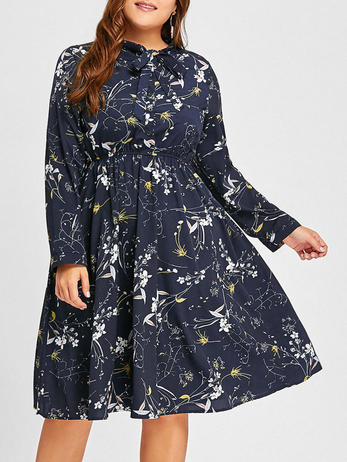 Plus Size Bowknot Floral Print DressWOMEN<br><br>Size: 3XL; Color: PURPLISH BLUE; Style: Casual; Material: Polyester; Silhouette: A-Line; Dresses Length: Knee-Length; Neckline: Shirt Collar; Sleeve Length: Long Sleeves; Embellishment: Bowknot,Button; Pattern Type: Floral; With Belt: No; Season: Fall,Spring; Weight: 0.3500kg; Package Contents: 1 x Dress;