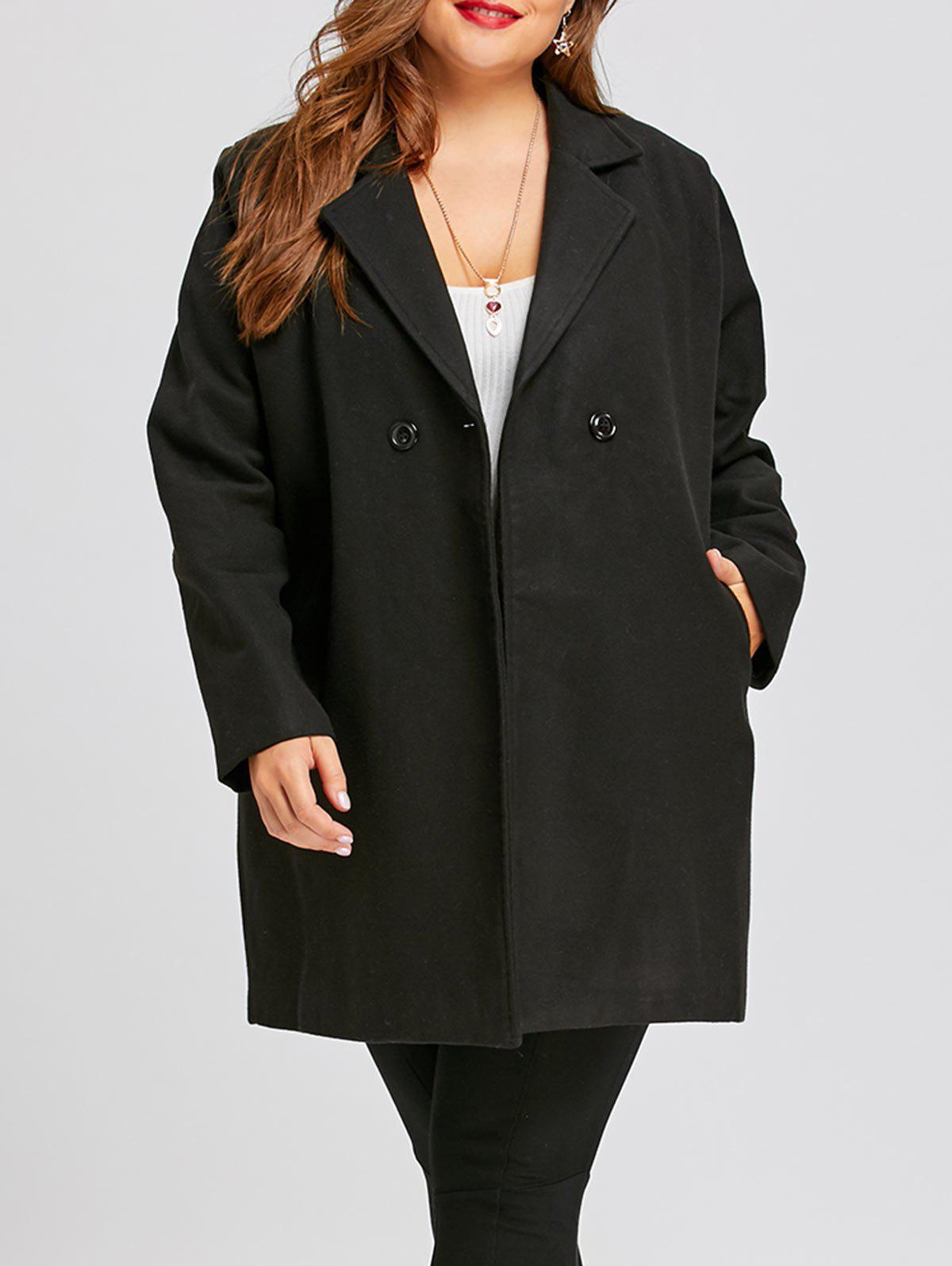 Long Plus Size Lapel Double Breasted CoatWOMEN<br><br>Size: 5XL; Color: BLACK; Clothes Type: Others; Material: Polyester,Spandex; Type: Slim; Shirt Length: Long; Sleeve Length: Full; Collar: Lapel; Pattern Type: Solid; Style: Fashion; Season: Fall,Winter; Weight: 1.1700kg; Package Contents: 1 x Coat;