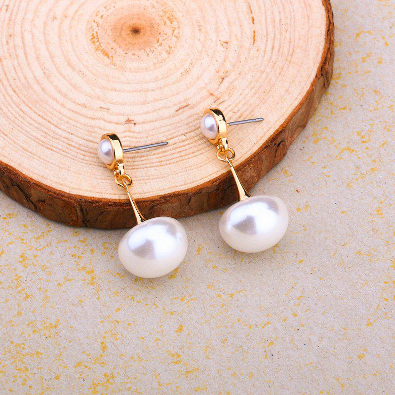 Faux Pearl Unique EarringsJEWELRY<br><br>Color: WHITE; Earring Type: Drop Earrings; Gender: For Women; Style: Trendy; Shape/Pattern: Round; Length: 3.5CM; Weight: 0.0410kg; Package Contents: 1 x Earring (Pair);