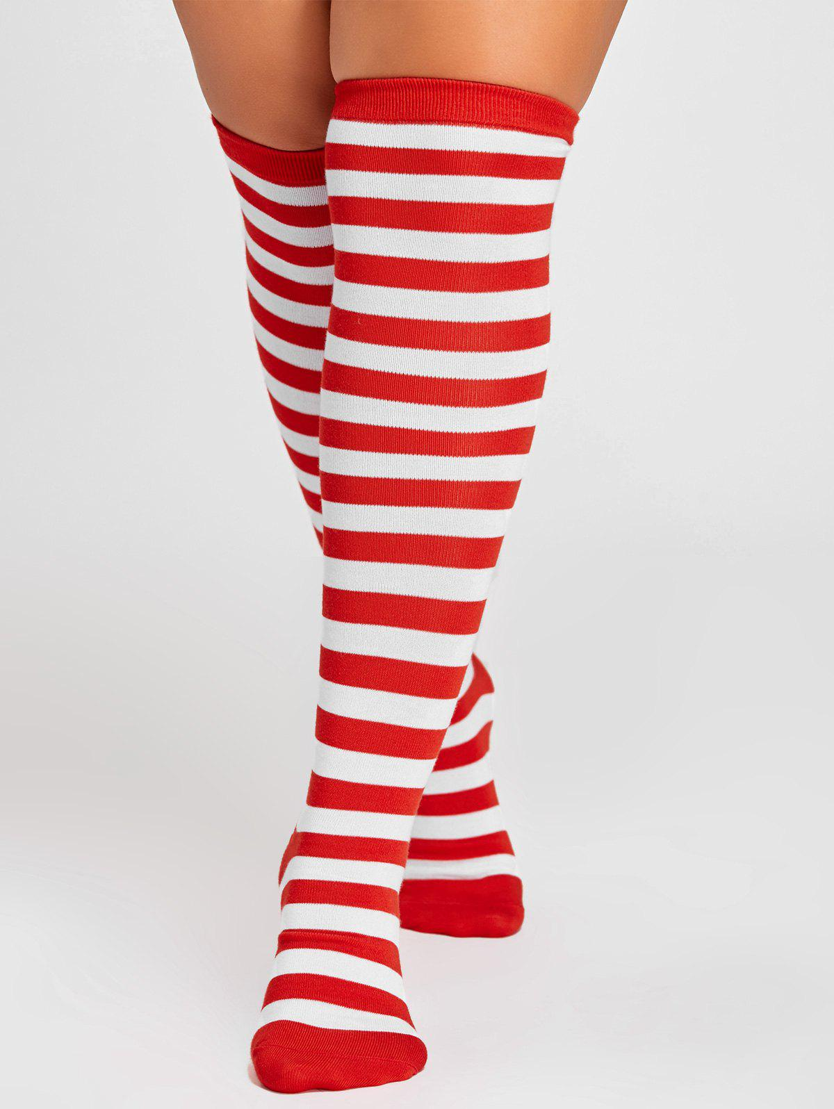 Striped Pattern Embellished Color Splice Thigh High SocksACCESSORIES<br><br>Size: ONE SIZE; Color: RED; Type: Socks; Group: Adult; Gender: For Women; Style: Fashion; Pattern Type: Striped; Material: Acrylic; Size(CM): Length: 18CM, Width: 8.5CM, Height: 50CM; Weight: 0.1000kg; Package Contents: 1 x Socks(Pair);