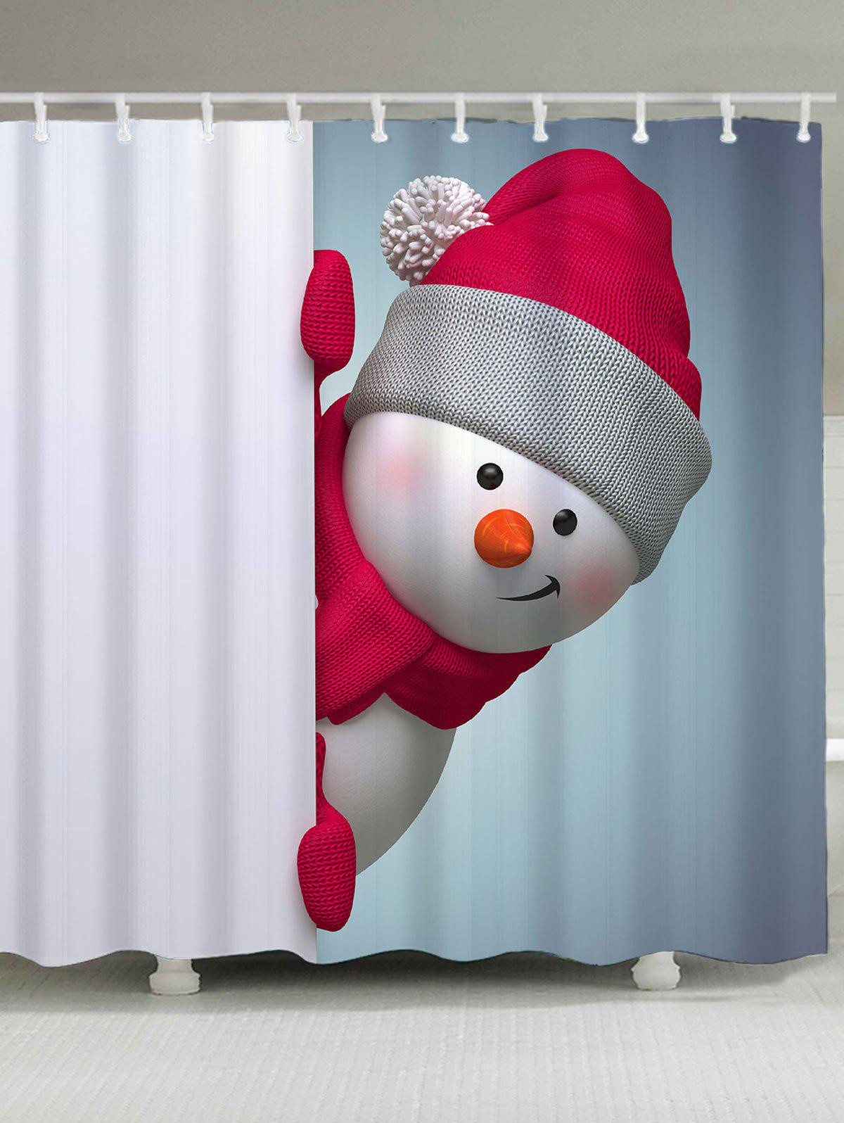 Bath Decor Christmas Snowman Printed Shower CurtainHOME<br><br>Size: W59 INCH * L71 INCH; Color: RED AND WHITE; Products Type: Shower Curtains; Materials: Polyester; Pattern: Snowman; Style: Festival; Number of Hook Holes: W59 inch * L71 inch:10, W71 inch * L71 inch:12, W71 inch * L79 inch:12; Package Contents: 1 x Shower Curtain 1 x Hooks (Set);