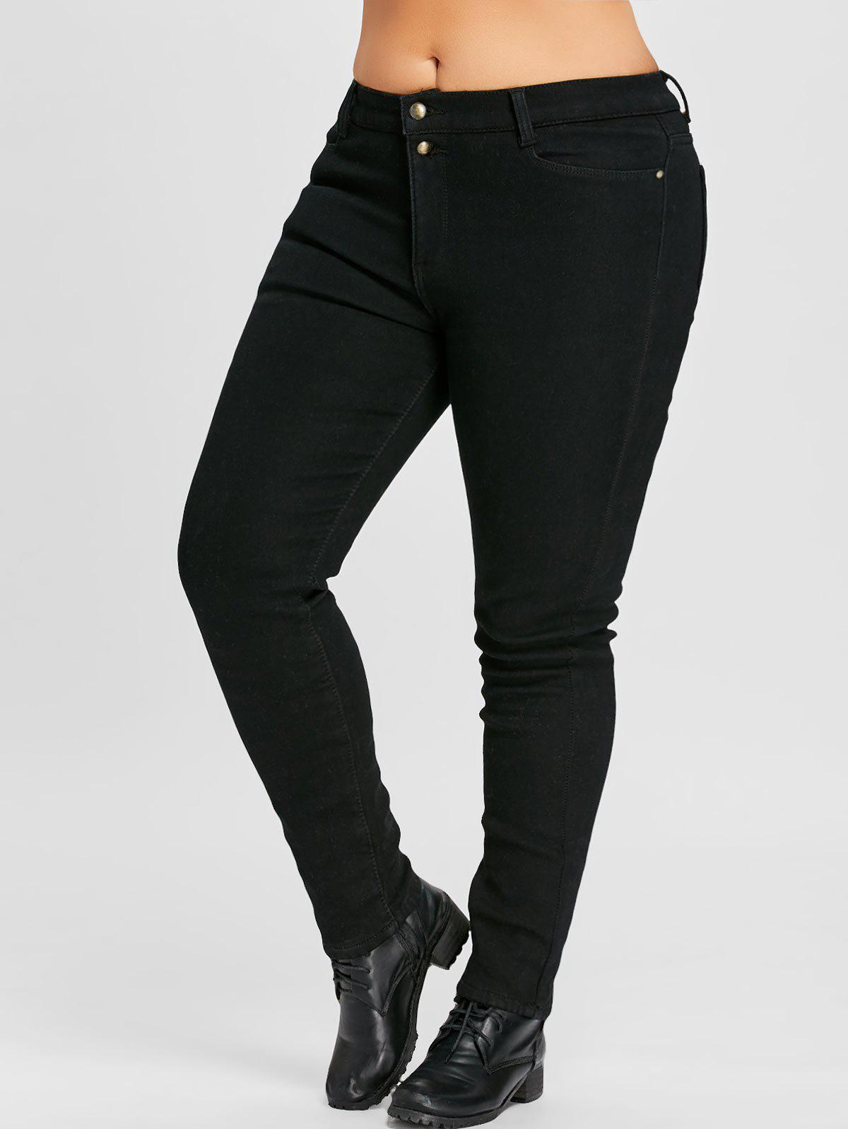 Midi Rise Plus Size  Zipper Fly Slim JeansWOMEN<br><br>Size: 4XL; Color: BLACK; Style: Fashion; Length: Ninth; Material: Jeans,Polyester; Fabric Type: Denim; Fit Type: Skinny; Waist Type: Mid; Closure Type: Zipper Fly; Pattern Type: Solid; Embellishment: Button,Pockets; Pant Style: Pencil Pants; Weight: 0.7500kg; Package Contents: 1 x Jeans;