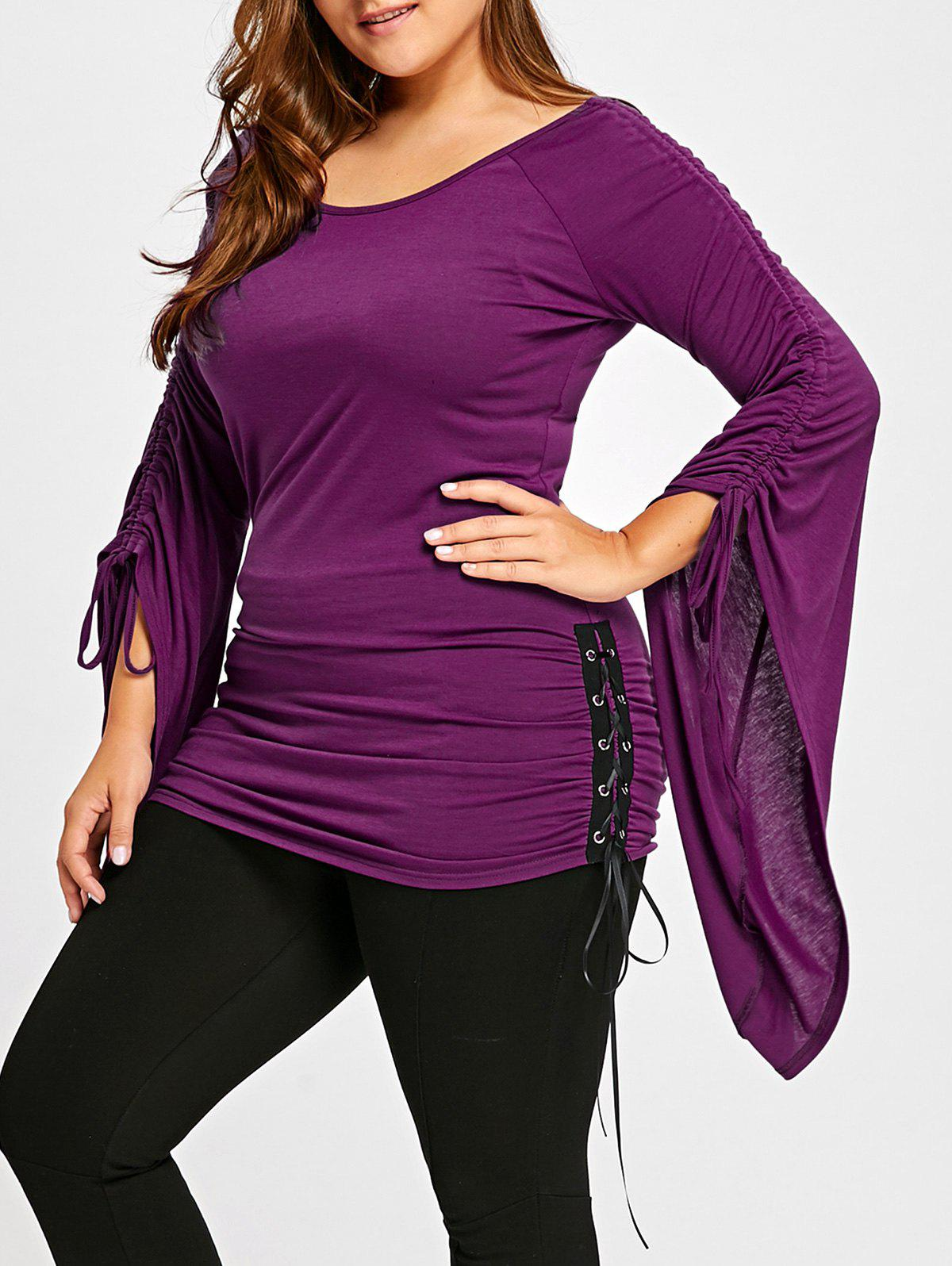 Plus Size Flare Sleeve Ruched TopWOMEN<br><br>Size: 5XL; Color: PURPLE; Material: Polyester,Spandex; Shirt Length: Long; Sleeve Length: Full; Collar: Scoop Neck; Style: Casual; Season: Fall,Spring; Pattern Type: Solid; Weight: 0.4000kg; Package Contents: 1 x Top;