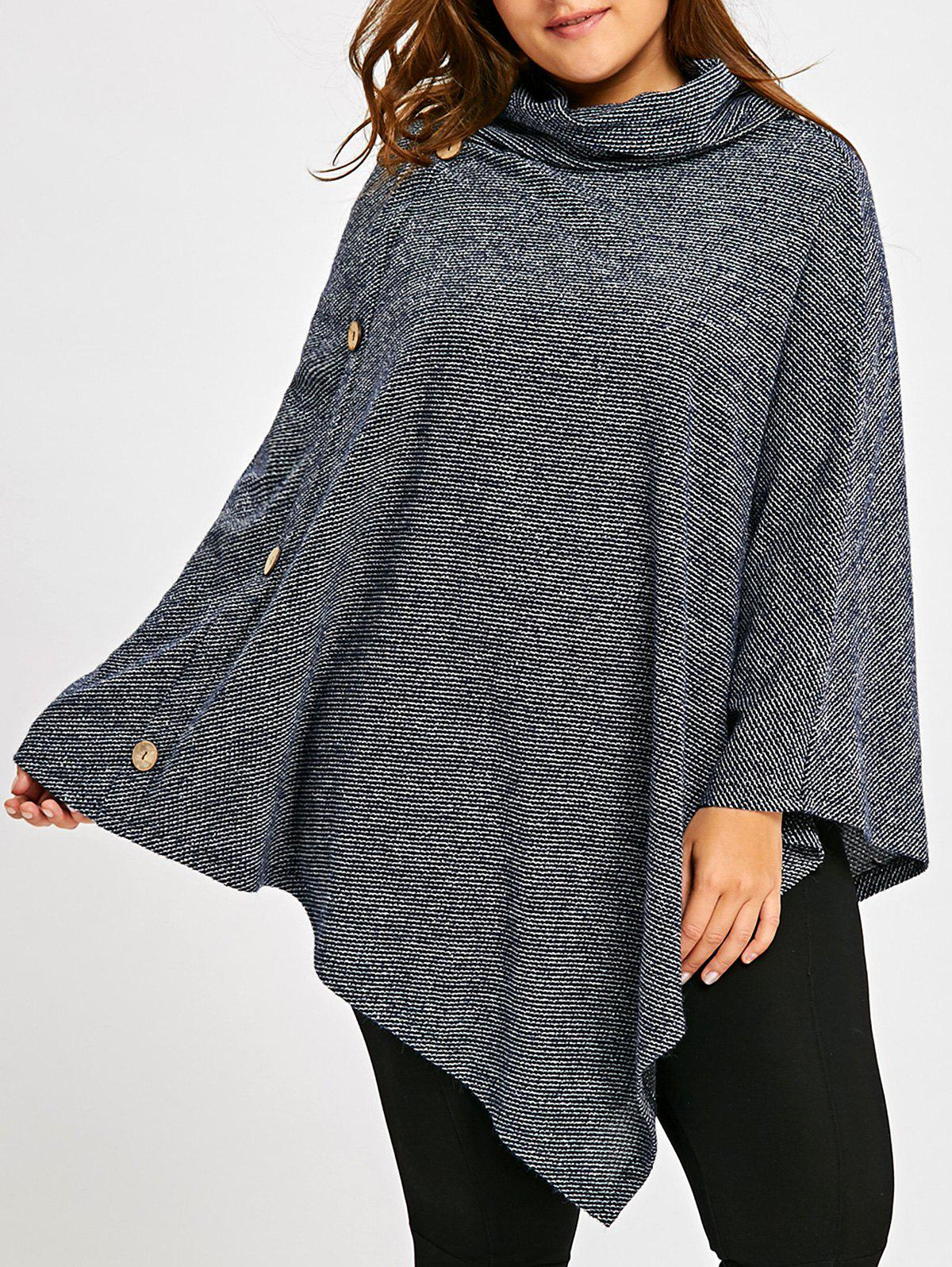 Plus Size Cowl Neck Poncho TopWOMEN<br><br>Size: 5XL; Color: BLUE GRAY; Type: Pullovers; Material: Polyester; Sleeve Length: Full; Collar: Cowl Neck; Style: Casual; Season: Fall,Spring; Pattern Type: Solid; Weight: 0.4700kg; Package Contents: 1 x Top;