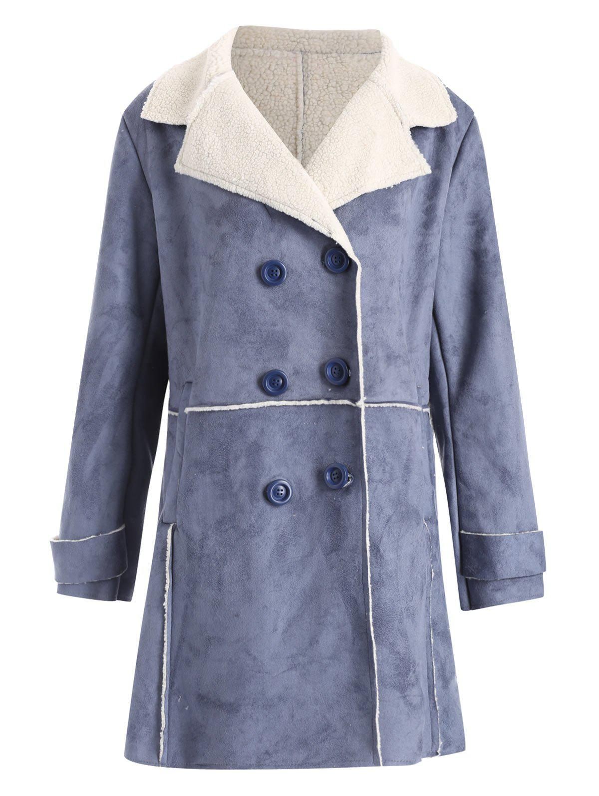 Plus Size Sherpa Lined Long Coat with PocketWOMEN<br><br>Size: 5XL; Color: BLUE; Clothes Type: Leather &amp; Suede; Material: Cotton Blends,Polyester; Type: Slim; Shirt Length: Long; Sleeve Length: Full; Collar: Turn-down Collar; Closure Type: Double Breasted; Pattern Type: Others; Embellishment: Front Pocket; Style: Casual; Season: Winter; Weight: 0.9700kg; Package Contents: 1 x Coat;