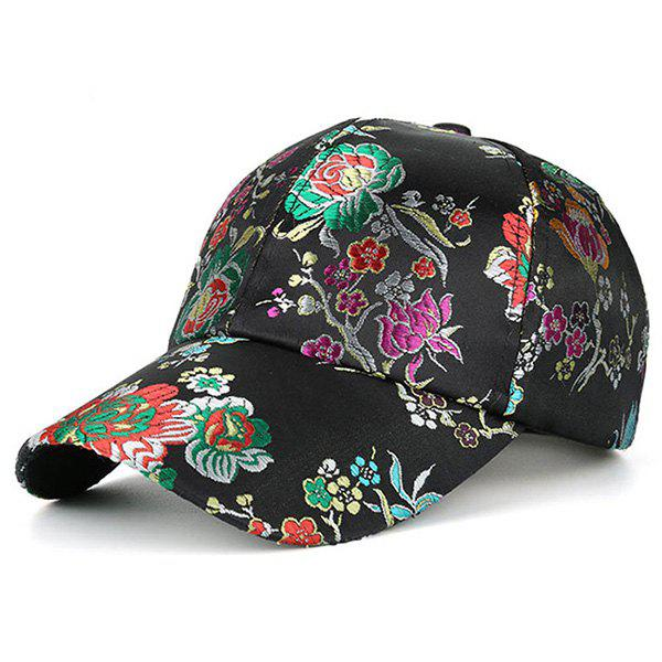 Retro Floral Pattern Embroidery Baseball HatACCESSORIES<br><br>Color: BLACK; Hat Type: Baseball Caps; Group: Adult; Gender: For Women; Style: Fashion; Pattern Type: Floral; Material: Acrylic; Weight: 0.1300kg; Package Contents: 1 x Hat;