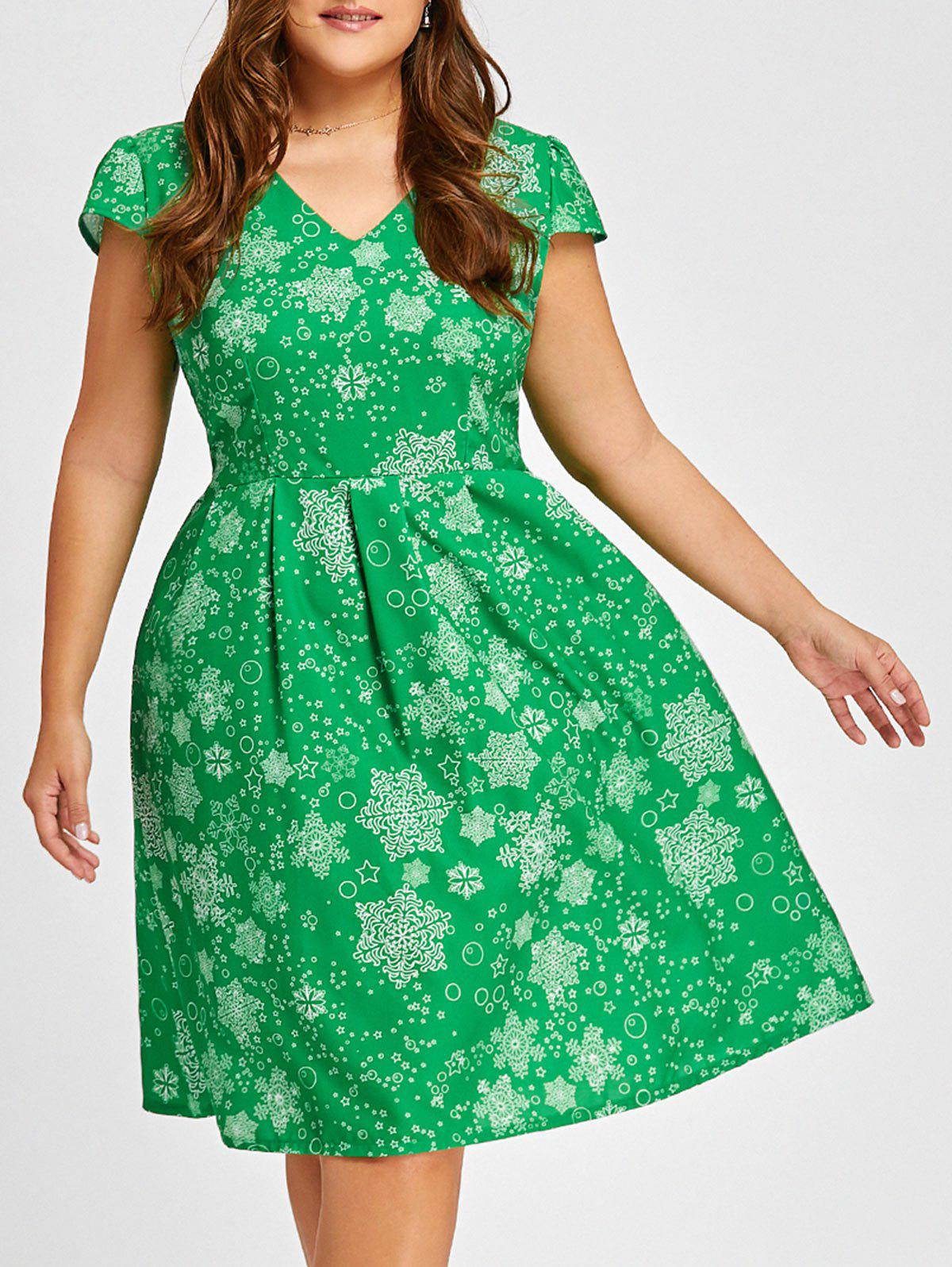Christmas Snowflake V Neck Vintage Plus Size DressWOMEN<br><br>Size: 3XL; Color: GREEN; Style: Vintage; Material: Polyester; Silhouette: A-Line; Dresses Length: Knee-Length; Neckline: V-Neck; Sleeve Type: Cap Sleeve; Sleeve Length: Short Sleeves; Pattern Type: Print; With Belt: No; Season: Fall,Spring,Summer,Winter; Weight: 0.3050kg; Package Contents: 1 x Dress;
