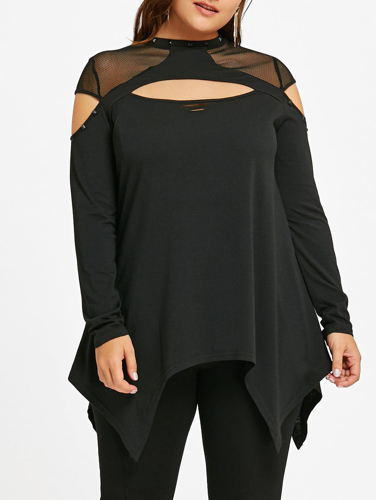 Plus Size Mesh Insert Cut Out TopWOMEN<br><br>Size: XL; Color: BLACK; Material: Polyester,Spandex; Shirt Length: Long; Sleeve Length: Full; Collar: Crew Neck; Style: Casual; Season: Fall,Spring; Pattern Type: Solid; Weight: 0.3400kg; Package Contents: 1 x Top;