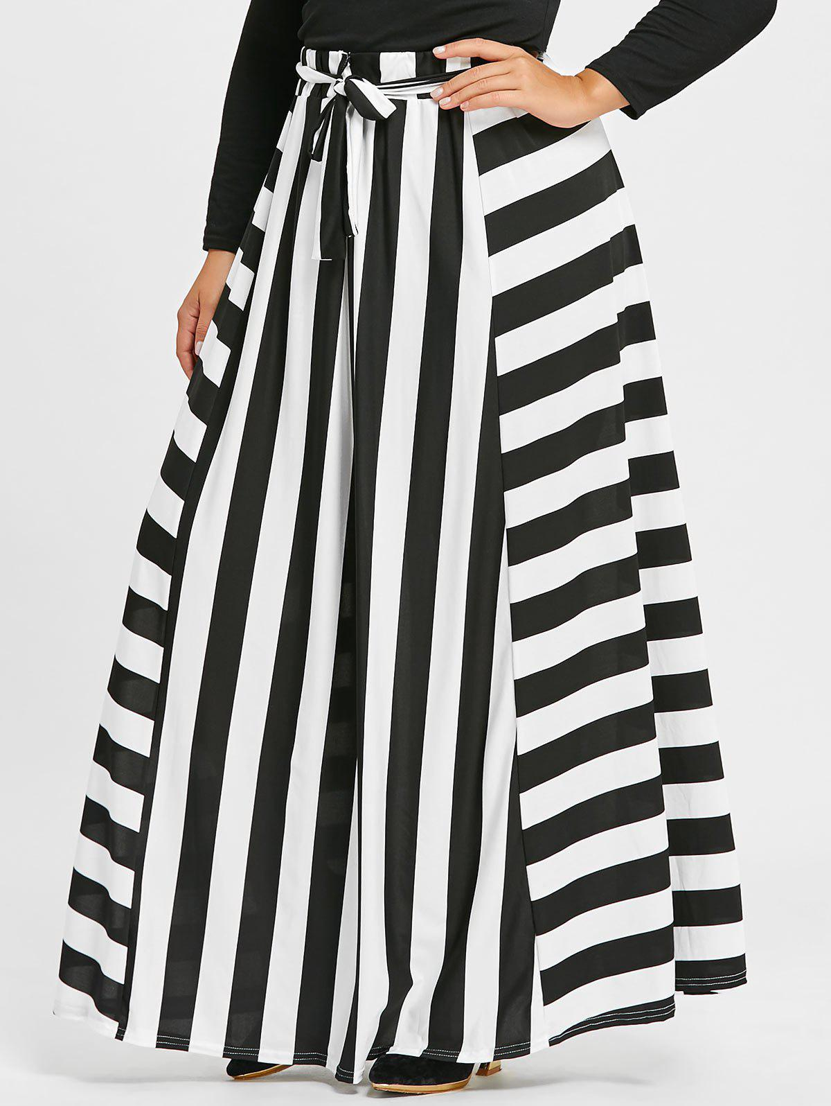 Plus Size Stripe High Waist Maxi SkirtWOMEN<br><br>Size: 3XL; Color: STRIPE; Material: Polyester; Length: Floor-Length; Silhouette: A-Line; Pattern Type: Striped; Season: Fall,Winter; With Belt: No; Weight: 0.4500kg; Package Contents: 1 x Skirt 1 x Belt;