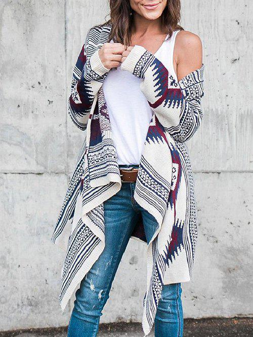 Asymmetric Geometric Long Sleeves CardiganWOMEN<br><br>Size: XL; Color: COLORMIX; Type: Cardigans; Material: Cotton,Polyester; Sleeve Length: Full; Collar: Collarless; Style: Fashion; Pattern Type: Geometric,Print; Season: Fall,Winter; Weight: 0.7000kg; Package Contents: 1 x Cardigan;