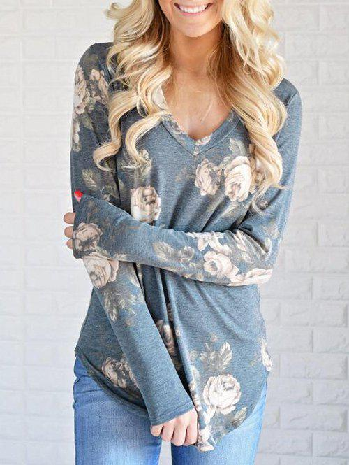Affordable V Neck Floral Print T-shirt