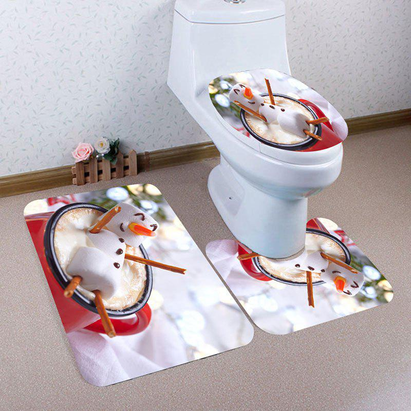 Christmas Steamed Buns Patterned Toilet Bath Mat SetHOME<br><br>Color: RED AND WHITE; Products Type: Shower Curtains; Materials: Coral FLeece; Pattern: Print; Style: Festival; Size: Pedestal Rug: 40*40(CM), Lid Toilet Cover: 40*45(CM), Bath Mat: 40*60(CM); Package Contents: 1 x Pedestal Rug 1 x Lid Toilet Cover 1 x Bath Mat;