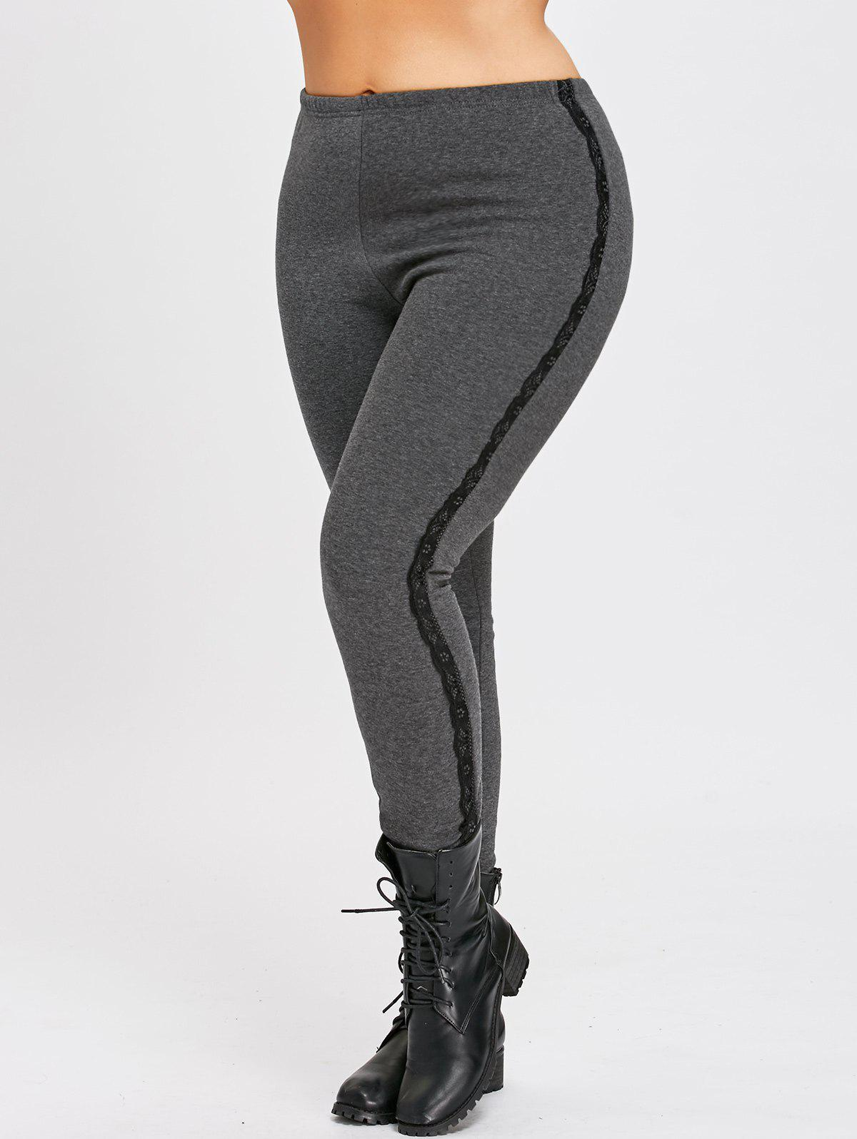 Elastic Waist Plus Size Fleece Lined Pants with Lace PanelWOMEN<br><br>Size: 6XL; Color: GRAY; Style: Casual; Length: Normal; Material: Polyester; Fit Type: Skinny; Waist Type: High; Closure Type: Elastic Waist; Pattern Type: Solid; Pant Style: Pencil Pants; Elasticity: Elastic; Weight: 0.4200kg; Package Contents: 1 x Pants;