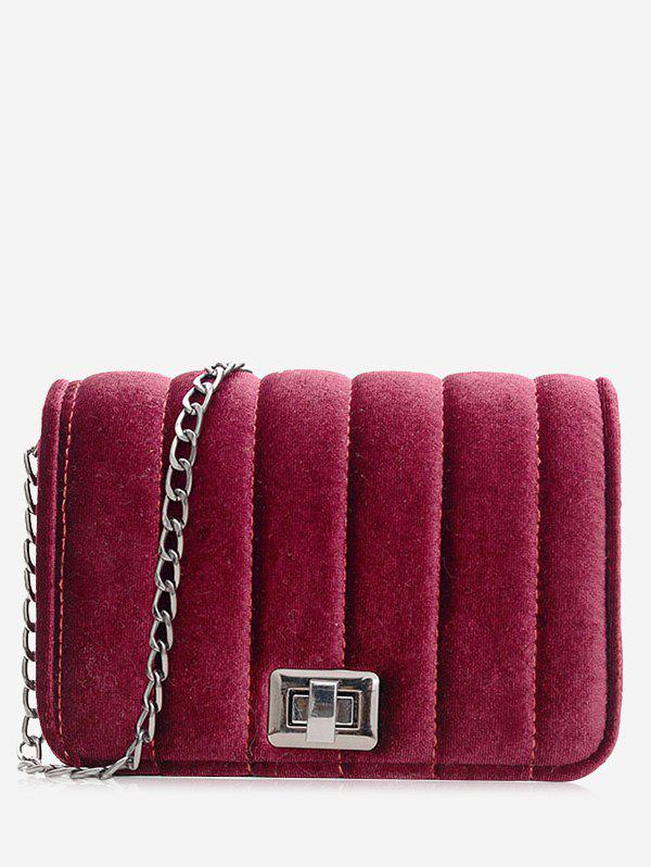 Fancy Chain Hasp Striped Crossbody Bag