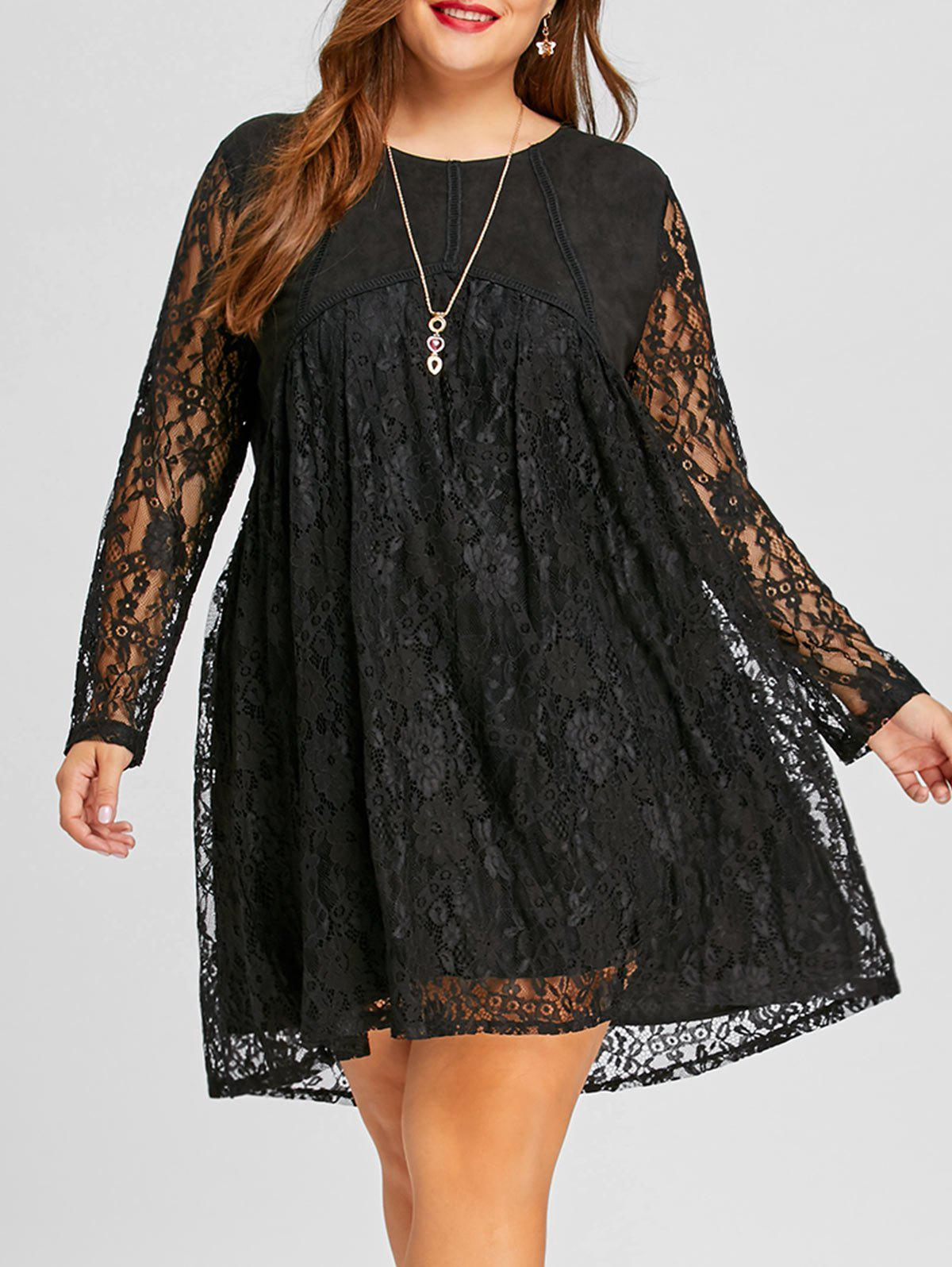Lace Plus Size Long Sleeve Shift DressWOMEN<br><br>Size: 3XL; Color: BLACK; Style: Cute; Material: Polyester,Spandex; Silhouette: Straight; Dresses Length: Mini; Neckline: Round Collar; Sleeve Length: Long Sleeves; Embellishment: Lace; Pattern Type: Solid; With Belt: No; Season: Fall,Spring; Weight: 0.4850kg; Package Contents: 1 x Dress;