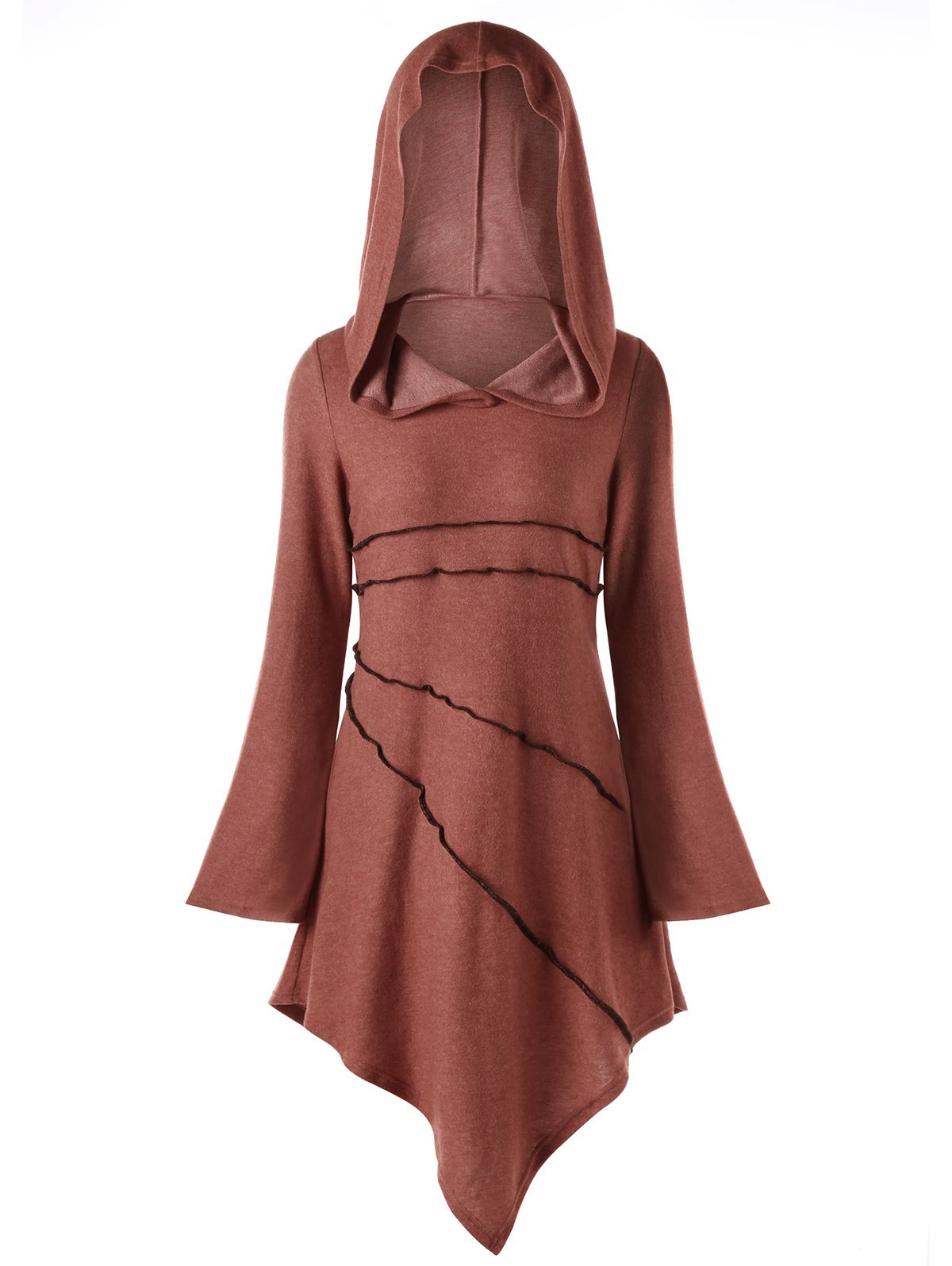 Asymmetric Exposed Seam Hoodie DressWOMEN<br><br>Size: L; Color: BRICK-RED; Style: Cute; Material: Cotton Blend,Polyester; Silhouette: Asymmetrical; Dresses Length: Knee-Length; Neckline: Hooded; Sleeve Length: Long Sleeves; Pattern Type: Solid Color; With Belt: No; Season: Fall,Spring; Weight: 0.4380kg; Package Contents: 1 x Dress; Occasion: Casual ,Going Out;