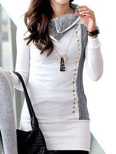 Slim Fit Rivet Tunic SweatshirtWOMEN<br><br>Size: XL; Color: WHITE; Material: Polyester; Shirt Length: Long; Sleeve Length: Full; Style: Fashion; Pattern Style: Patchwork; Season: Fall,Winter; Weight: 0.3300kg; Package Contents: 1 x Sweatshirt;