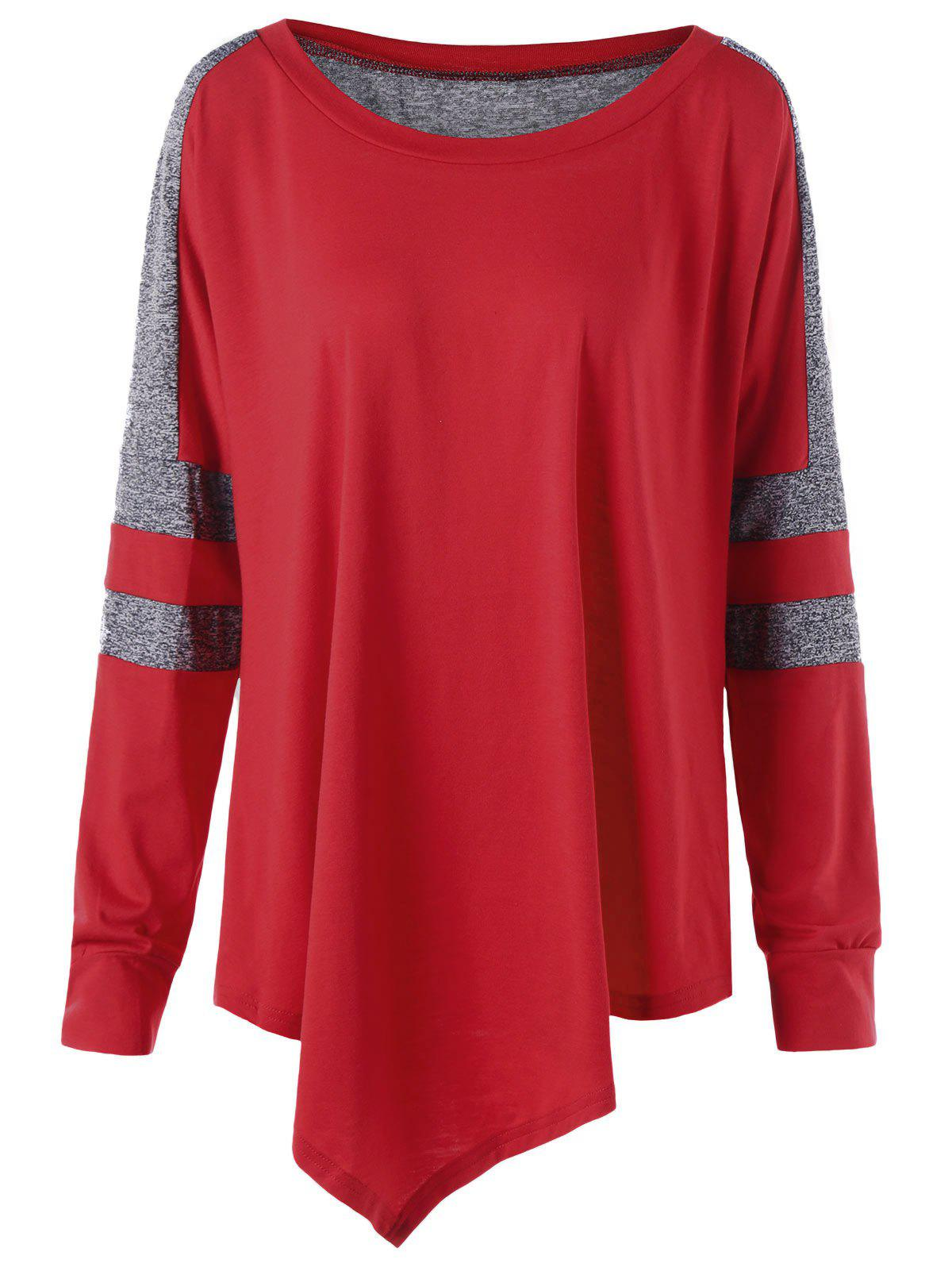 Plus Size Pullover Asymmetric Long Sleeve SweatshirtWOMEN<br><br>Size: 5XL; Color: RED; Material: Polyester,Spandex; Shirt Length: Long; Sleeve Length: Full; Style: Casual; Pattern Style: Others; Season: Fall,Spring,Winter; Weight: 0.3300kg; Package Contents: 1 x Sweatshirt;