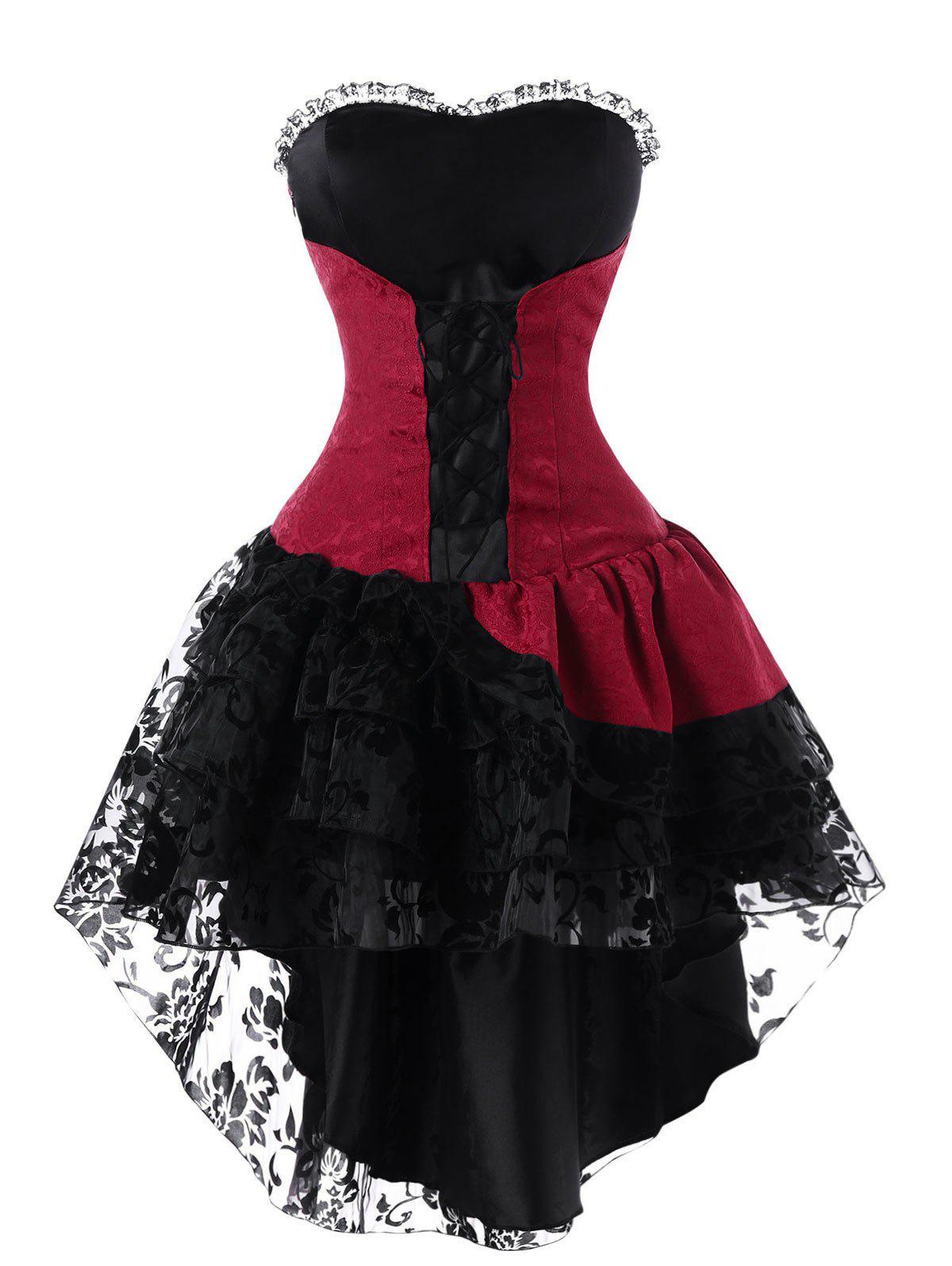 Lace Up Layered High Low Strapless Corset DressWOMEN<br><br>Size: XL; Color: RED WITH BLACK; Style: Gothic; Material: Polyester; Silhouette: A-Line; Dresses Length: Mini; Neckline: Sweetheart Neck; Sleeve Length: Sleeveless; Embellishment: Lace; Pattern Type: Others; With Belt: No; Season: Fall,Spring; Weight: 0.3400kg; Package Contents: 1 x Dress;