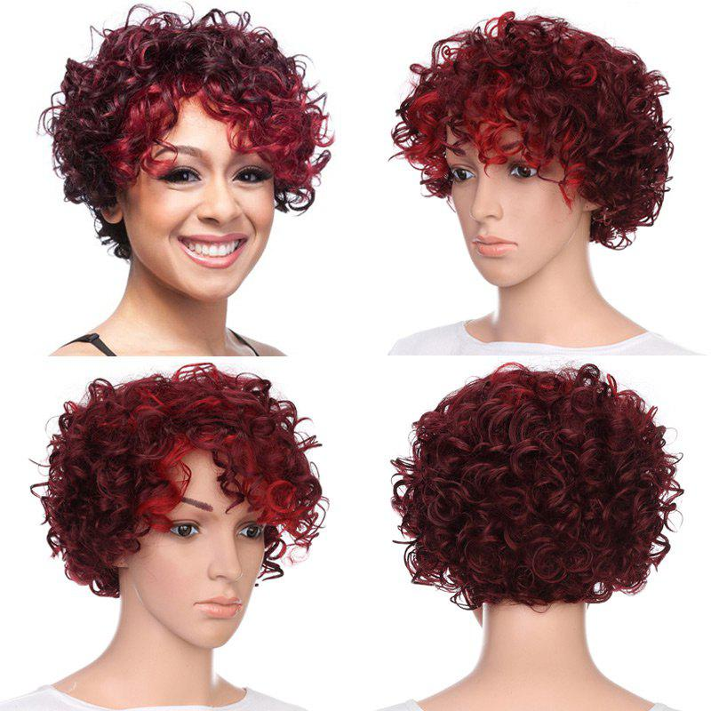 Short Side Bang Fluffy Curly Highlighted Synthetic WigHAIR<br><br>Color: BORDEAUX; Type: Full Wigs; Cap Construction: Capless; Style: Curly; Material: Synthetic Hair; Bang Type: Side; Length: Short; Length Size(CM): 24; Weight: 0.1250kg; Package Contents: 1 x Wig;
