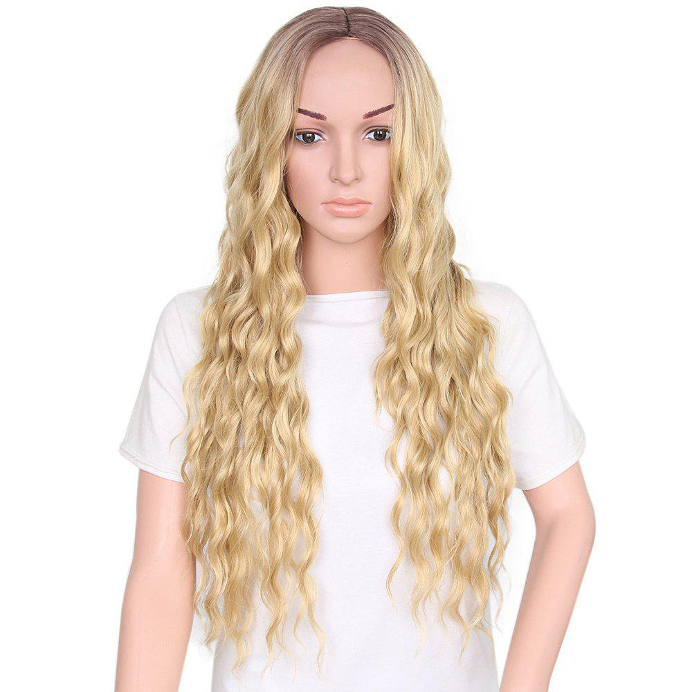 Long Middle Part Wavy Heat Resistant Synthetic WigHAIR<br><br>Color: GOLDEN; Type: Full Wigs; Cap Construction: Capless; Style: Wavy; Material: Synthetic Hair; Bang Type: Middle; Length: Long; Length Size(CM): 65; Weight: 0.2450kg; Package Contents: 1 x Wig;