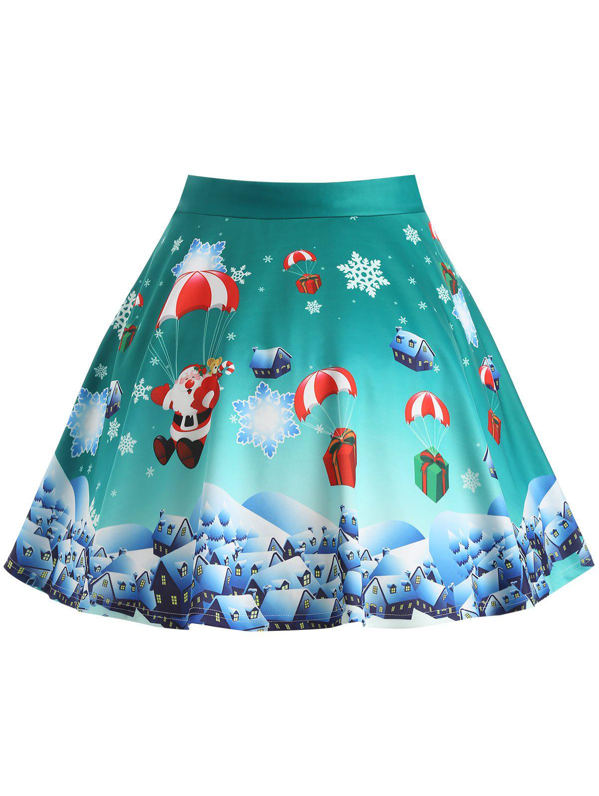 Affordable Plus Size Christmas Gift Santa Claus Print Skirt