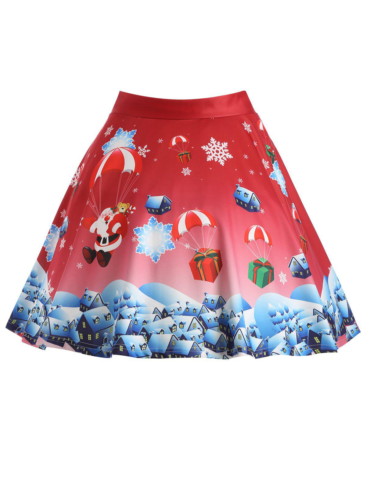 Plus Size Christmas Gift Santa Claus Print SkirtWOMEN<br><br>Size: 3XL; Color: RED; Material: Polyester; Length: Knee-Length; Silhouette: A-Line; Pattern Type: Print; Season: Winter; With Belt: No; Weight: 0.3750kg; Package Contents: 1 x Skirt;