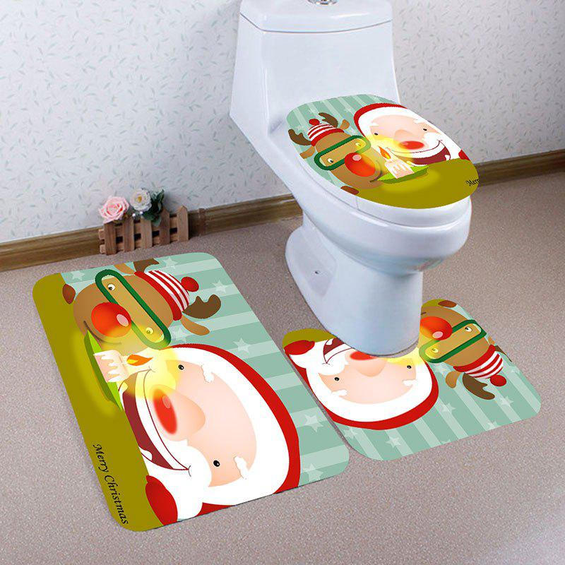 Buy Cute Santa Claus and Elk Printed 3Pcs Bathroom Mats Set