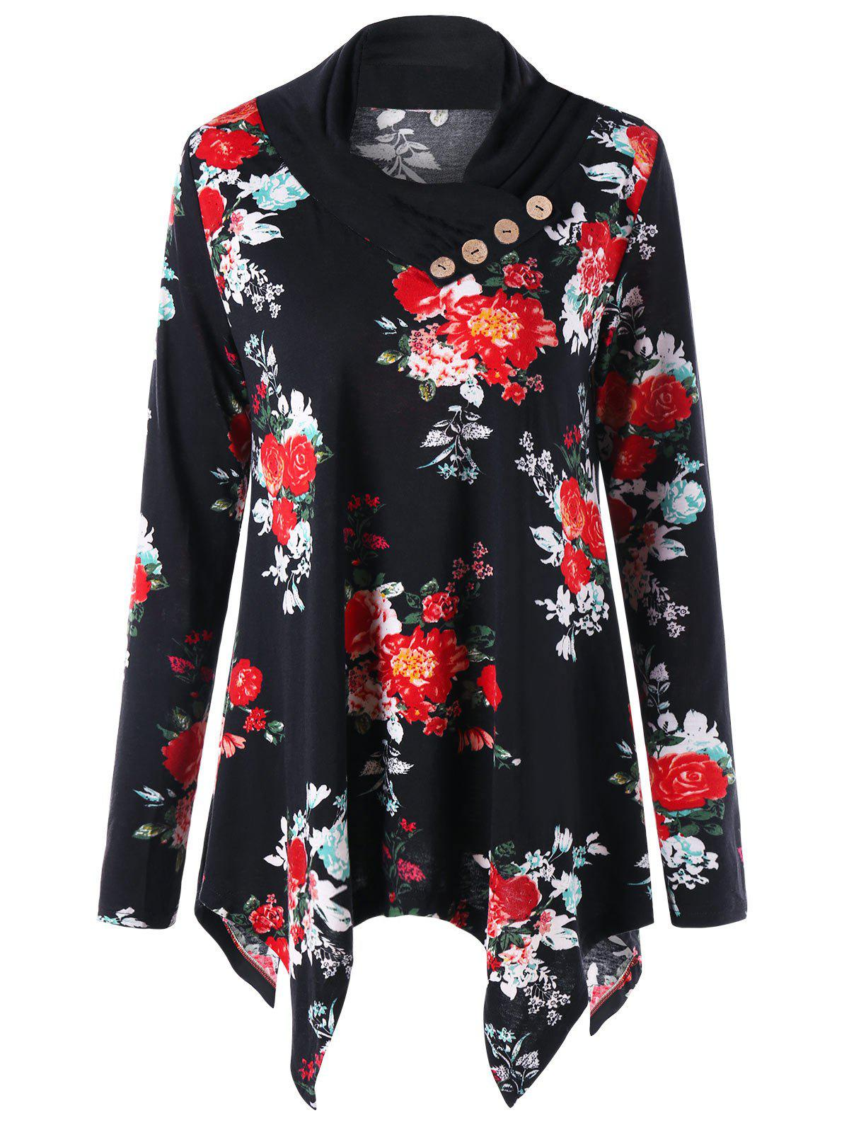 Floral Print Heap Collar Asymmetric Tunic TopWOMEN<br><br>Size: 2XL; Color: FLORAL; Material: Polyester,Spandex; Shirt Length: Regular; Sleeve Length: Full; Collar: Heaps Collar; Style: Casual; Pattern Type: Floral; Season: Fall,Spring; Weight: 0.3000kg; Package Contents: 1 x Top;