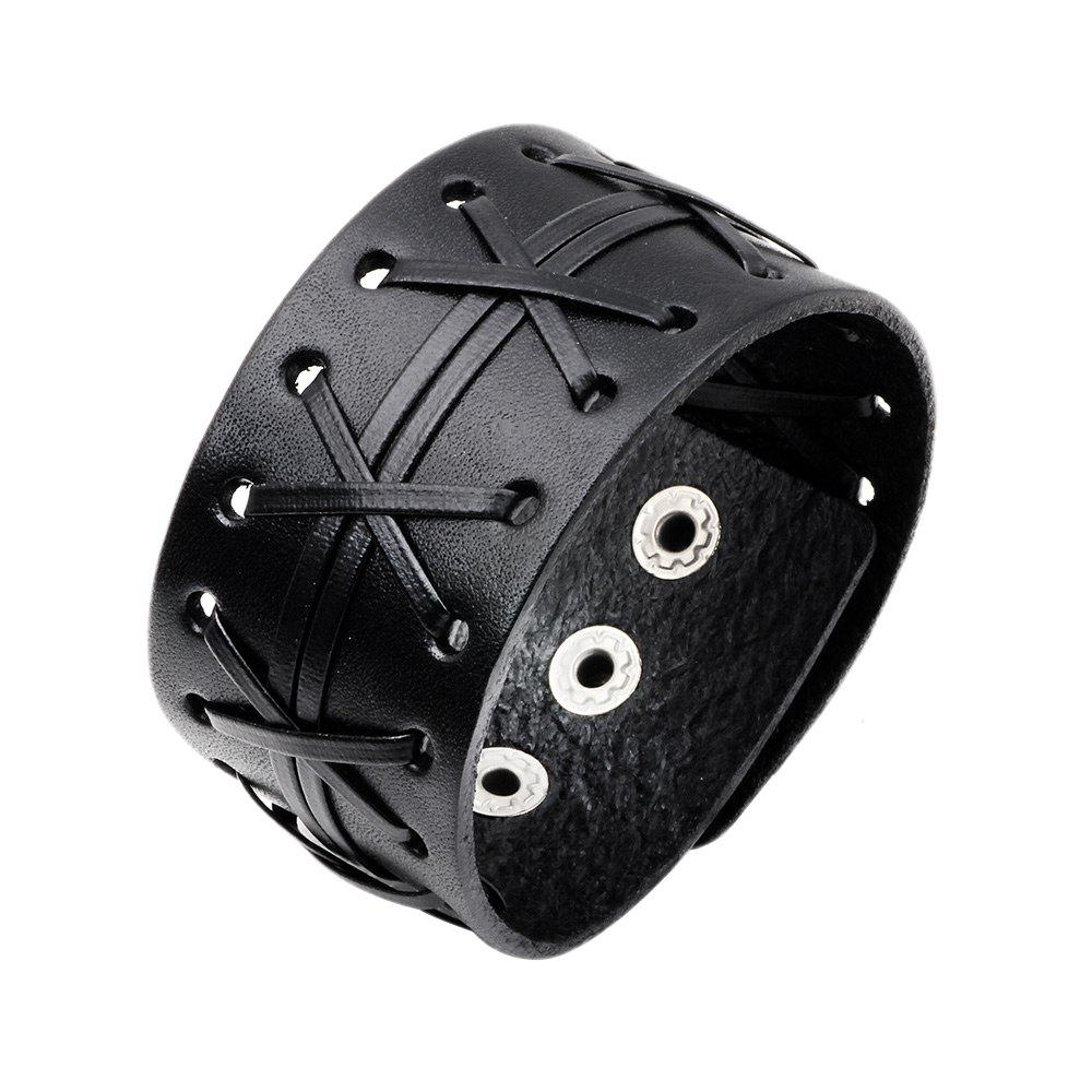 Punk Artificial Leather Braid BraceletJEWELRY<br><br>Color: BLACK; Gender: For Men; Chain Type: Leather Chain; Style: Trendy; Shape/Pattern: Geometric; Length: 24.2CM; Weight: 0.0240kg; Package Contents: 1 x Bracelet;