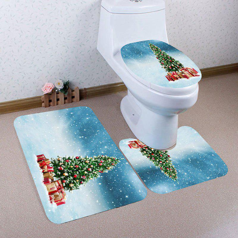 Latest Snows and Christmas Tree Pattern 3Pcs Bathroom Mats Set