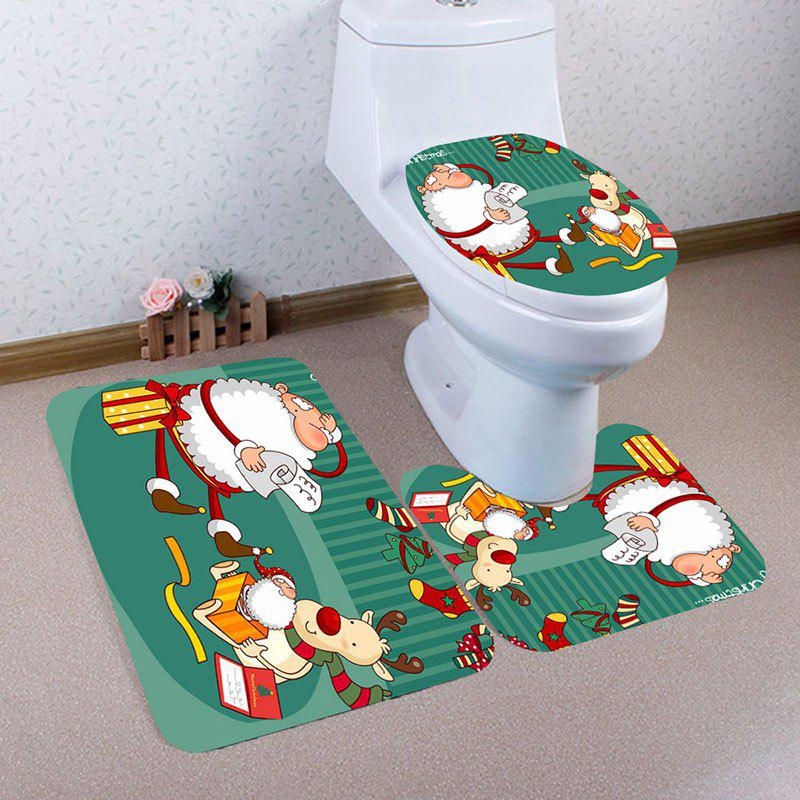 Sale Cartoon Father Christmas Pattern 3Pcs Bathroom Mats Set
