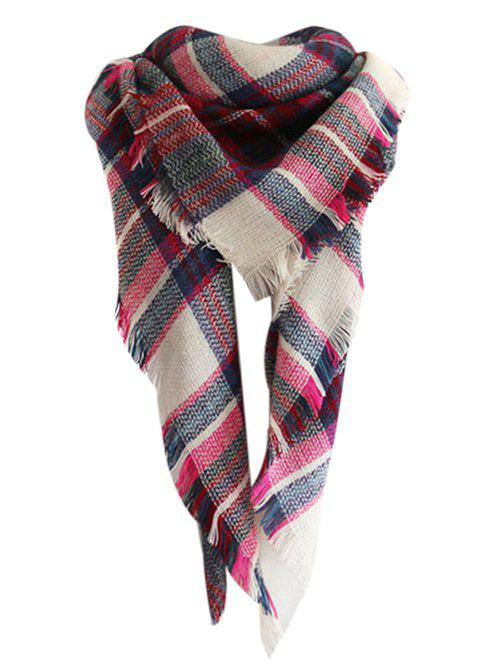 Vintage Checked Pattern Faux Wool Shawl ScarfACCESSORIES<br><br>Color: ROSE MADDER; Scarf Type: Scarf; Scarf Length: 100-135CM; Group: Adult; Gender: For Women; Style: Fashion; Season: Fall,Spring,Winter; Scarf Width (CM): 140CM; Length (CM): 140CM; Weight: 0.2400kg; Package Contents: 1 x Scarf;
