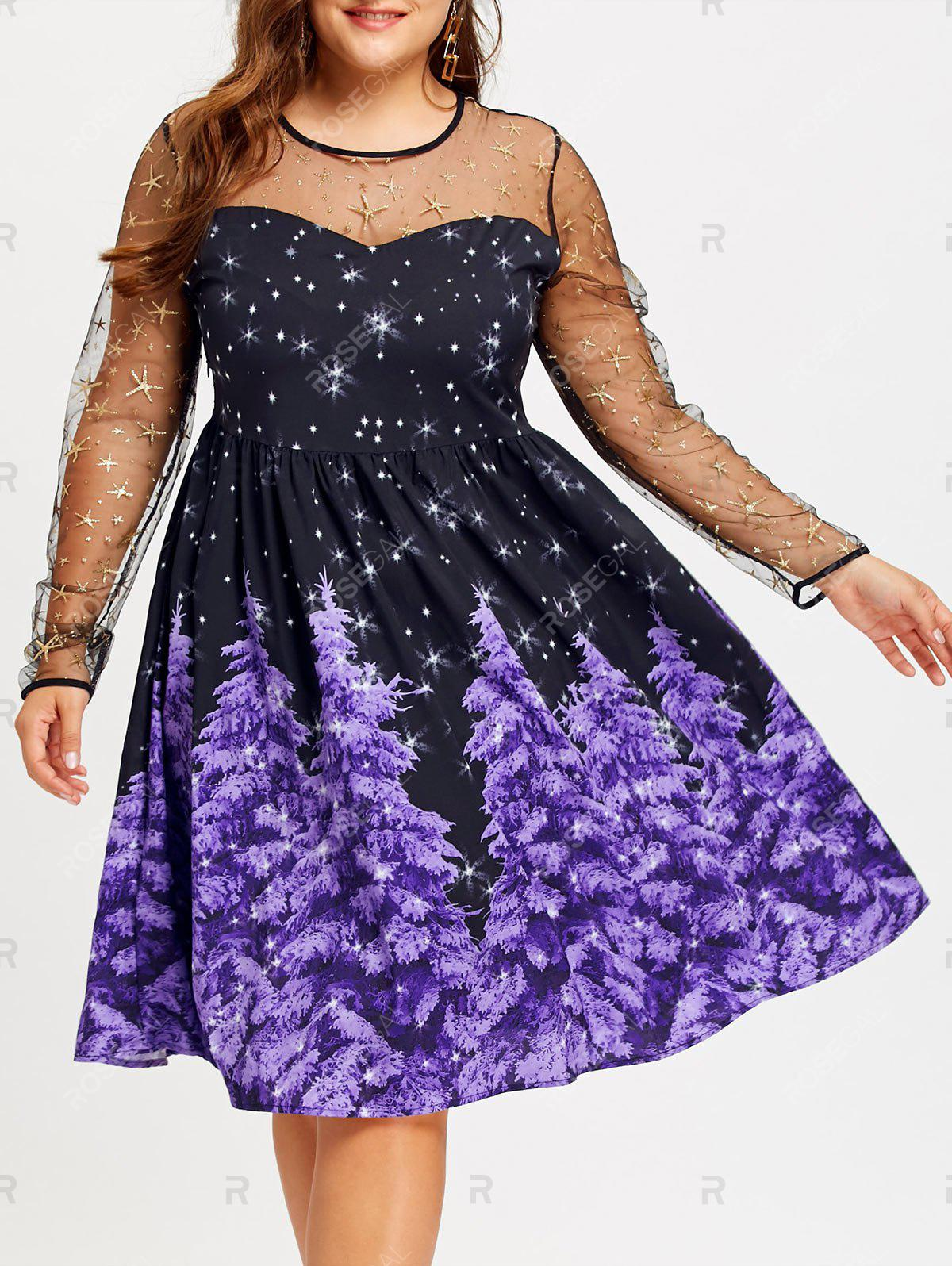 Plus Size Mesh Panel Star and Christmas Tree Print DressWOMEN<br><br>Size: 5XL; Color: PURPLE; Style: Vintage; Material: Polyester; Silhouette: A-Line; Dresses Length: Mid-Calf; Neckline: Round Collar; Sleeve Length: Long Sleeves; Embellishment: Panel; Pattern Type: Christmas Tree,Star; With Belt: No; Season: Fall,Spring; Weight: 0.2600kg; Package Contents: 1 x Dress;