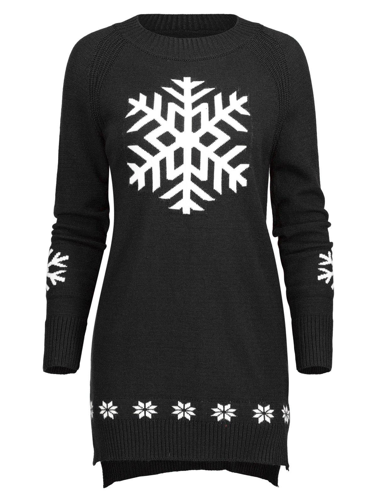 Affordable Long Knit Snowflake Sweater