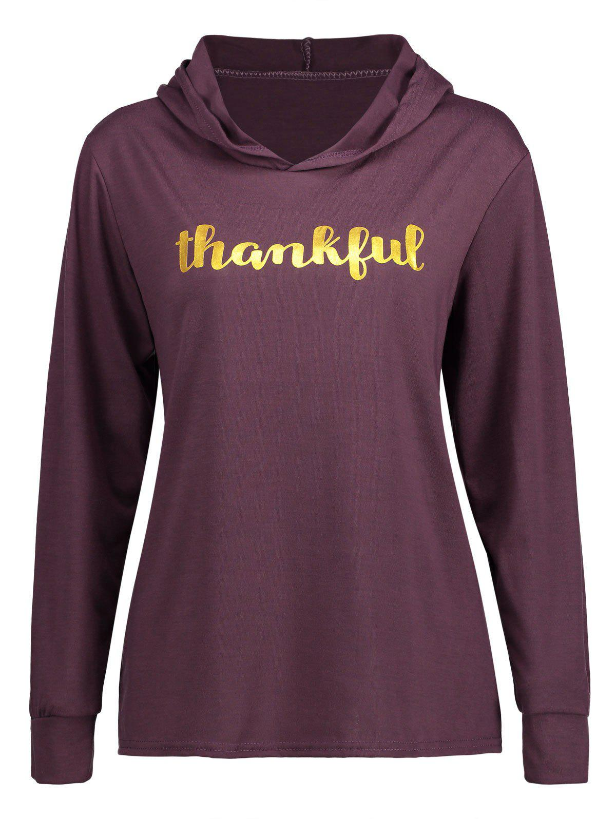 Thankful Thanksgiving HoodieWOMEN<br><br>Size: L; Color: PURPLE; Material: Polyester,Spandex; Shirt Length: Regular; Sleeve Length: Full; Style: Fashion; Pattern Style: Letter; Season: Fall,Spring; Weight: 0.2700kg; Package Contents: 1 x Hoodie;