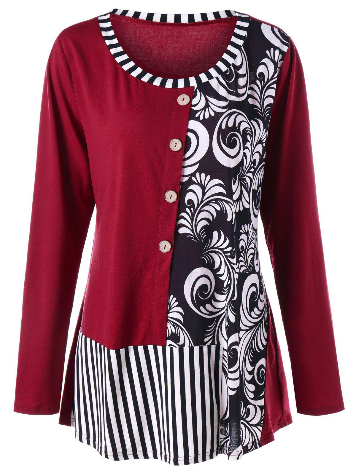 Plus Size Bandana Floral Striped T-shirtWOMEN<br><br>Size: XL; Color: WINE RED; Material: Polyester,Spandex; Shirt Length: Long; Sleeve Length: Full; Collar: Round Neck; Style: Casual; Season: Fall,Spring; Embellishment: Button; Pattern Type: Striped; Weight: 0.3000kg; Package Contents: 1 x Top;