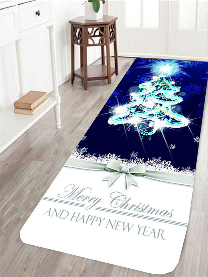 Christmas Tree and Letters Printed Skidproof RugHOME<br><br>Size: W24 INCH * L71 INCH; Color: COLORFUL; Products Type: Bath rugs; Materials: Coral FLeece; Pattern: Christmas Tree,Letter; Style: Festival; Package Contents: 1 x Rug;