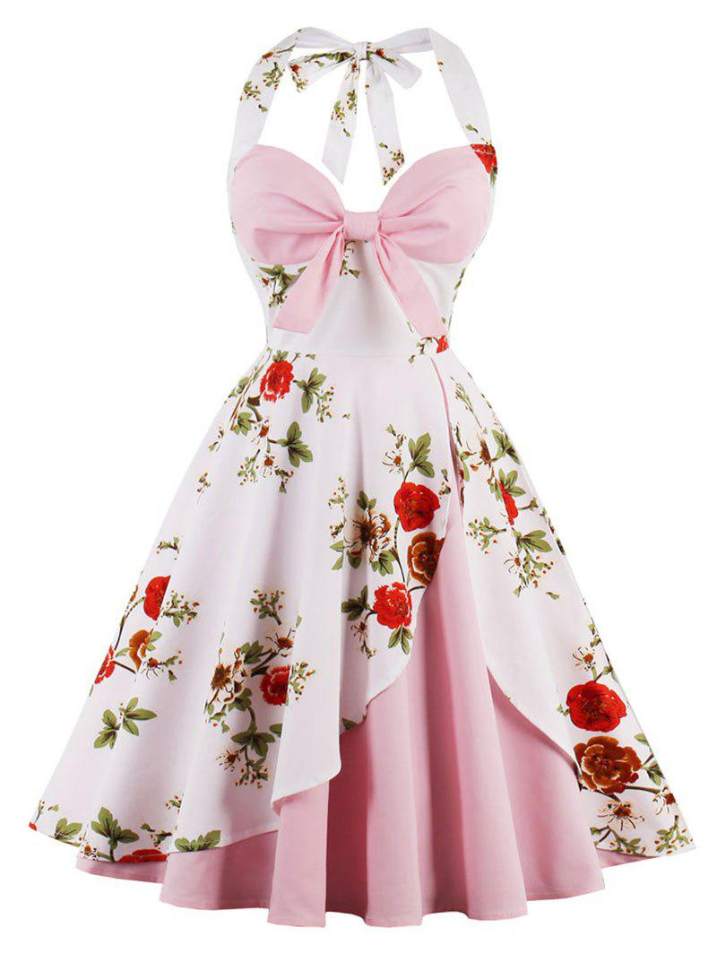 Vintage Halter Floral Pin Up DressWOMEN<br><br>Size: XL; Color: PINK; Style: Vintage; Material: Cotton,Spandex; Silhouette: A-Line; Dress Type: Fit and Flare Dress,Skater Dress; Dresses Length: Knee-Length; Neckline: Halter; Sleeve Length: Sleeveless; Embellishment: Backless; Pattern Type: Floral; With Belt: No; Season: Fall,Spring; Weight: 0.3500kg; Package Contents: 1 x Dress;