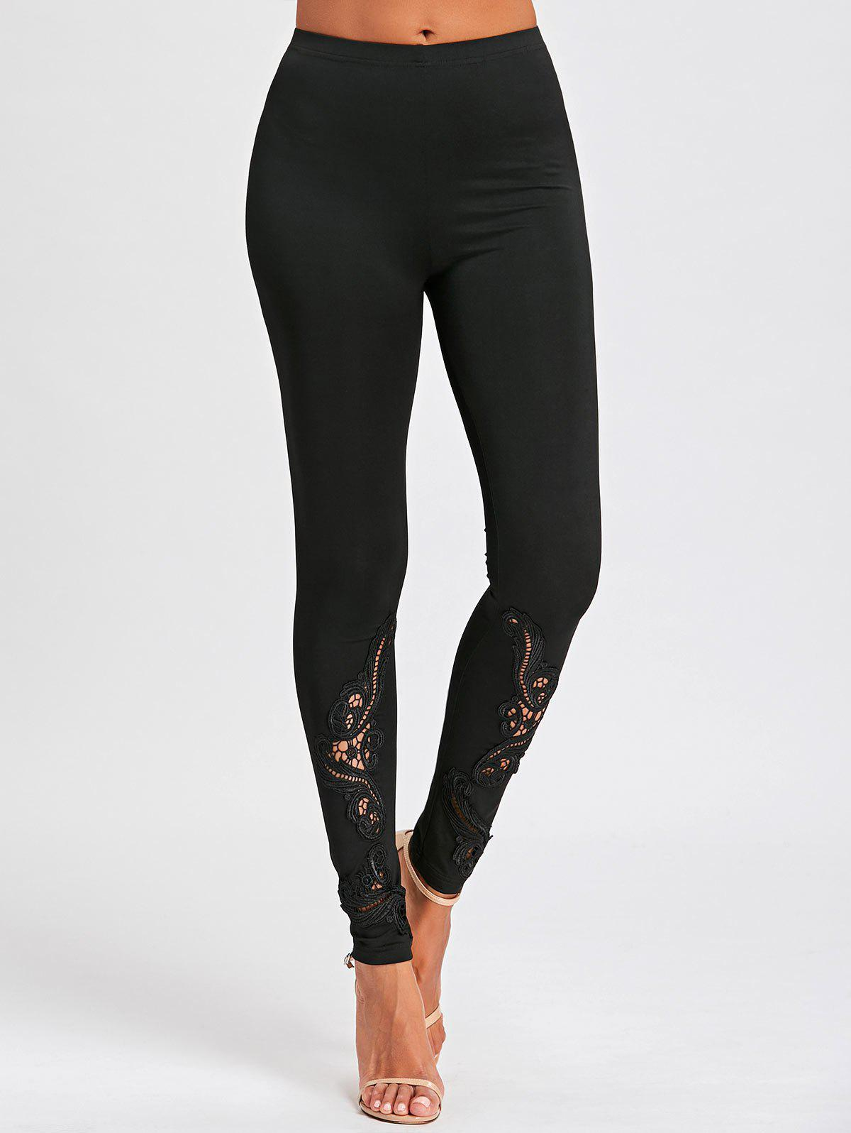 Hollow Out Lace Panel Tight LeggingsWOMEN<br><br>Size: M; Color: BLACK; Style: Fashion; Material: Polyester,Spandex; Waist Type: High; Pattern Type: Others; Weight: 0.2500kg; Package Contents: 1 x Leggings;