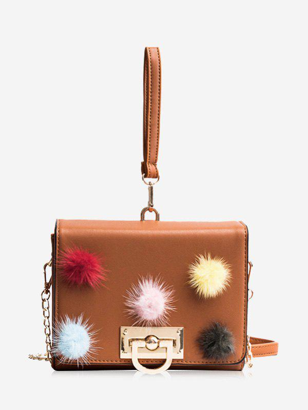 Shop Pompoms Multi Colors Faux Leather Handbag