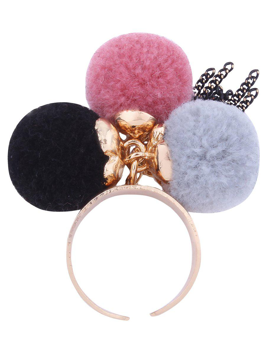 Fuzzy Ball Fringed Chain Charm Cuff RingJEWELRY<br><br>Color: PINK; Gender: For Women; Metal Type: Alloy; Style: Trendy; Shape/Pattern: Ball; Diameter: 1.8CM; Weight: 0.0100kg; Package Contents: 1 x Ring;