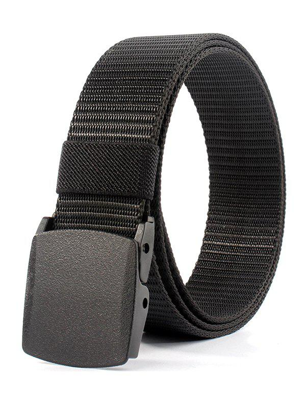 Vintage Metal Buckle Embellished Canvas BeltACCESSORIES<br><br>Color: BLACK; Group: Adult; Gender: For Men; Style: Casual; Belt Material: Canvas; Pattern Type: Others; Belt Silhouette: Buckle; Weight: 0.2500kg; Package Contents: 1 x Belt;