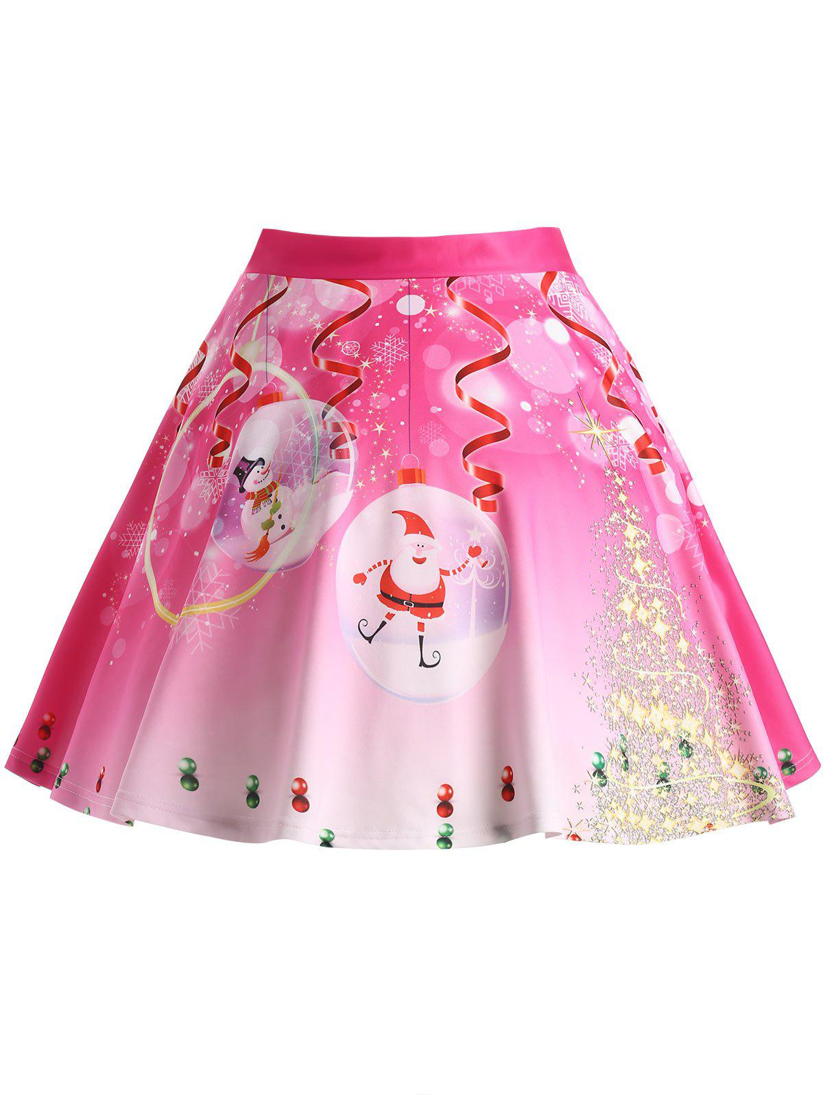 Christmas Tree Santa Claus Print Plus Size SkirtWOMEN<br><br>Size: 3XL; Color: ROSE RED; Material: Polyester; Length: Knee-Length; Silhouette: A-Line; Pattern Type: Plant,Star; Season: Winter; With Belt: No; Weight: 0.3750kg; Package Contents: 1 x Skirt;