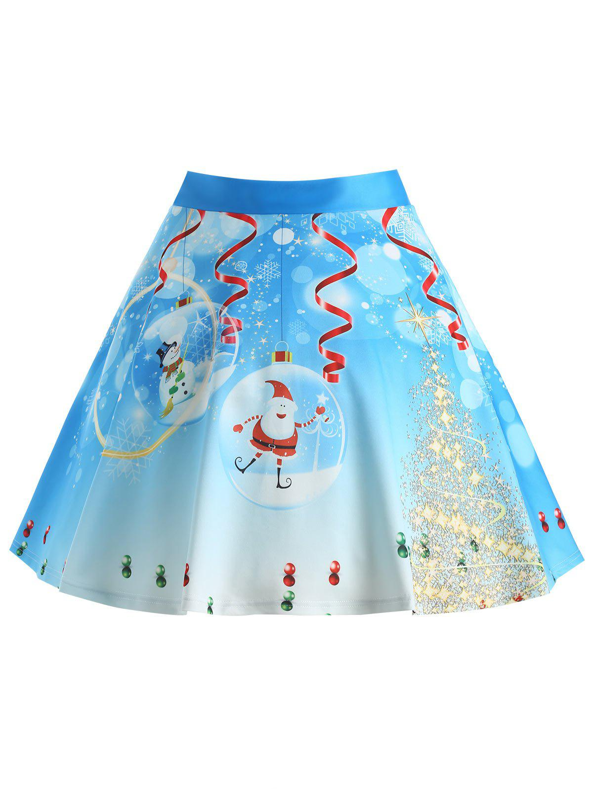 Christmas Tree Santa Claus Print Plus Size SkirtWOMEN<br><br>Size: 5XL; Color: BLUE; Material: Polyester; Length: Knee-Length; Silhouette: A-Line; Pattern Type: Plant,Star; Season: Winter; With Belt: No; Weight: 0.3750kg; Package Contents: 1 x Skirt;