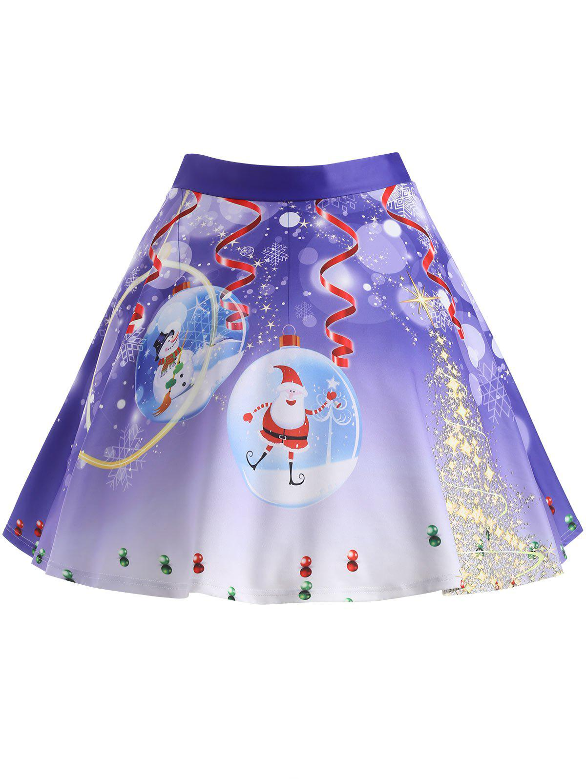 Christmas Tree Santa Claus Print Plus Size SkirtWOMEN<br><br>Size: 2XL; Color: PURPLE; Material: Polyester; Length: Knee-Length; Silhouette: A-Line; Pattern Type: Plant,Star; Season: Winter; With Belt: No; Weight: 0.3750kg; Package Contents: 1 x Skirt;
